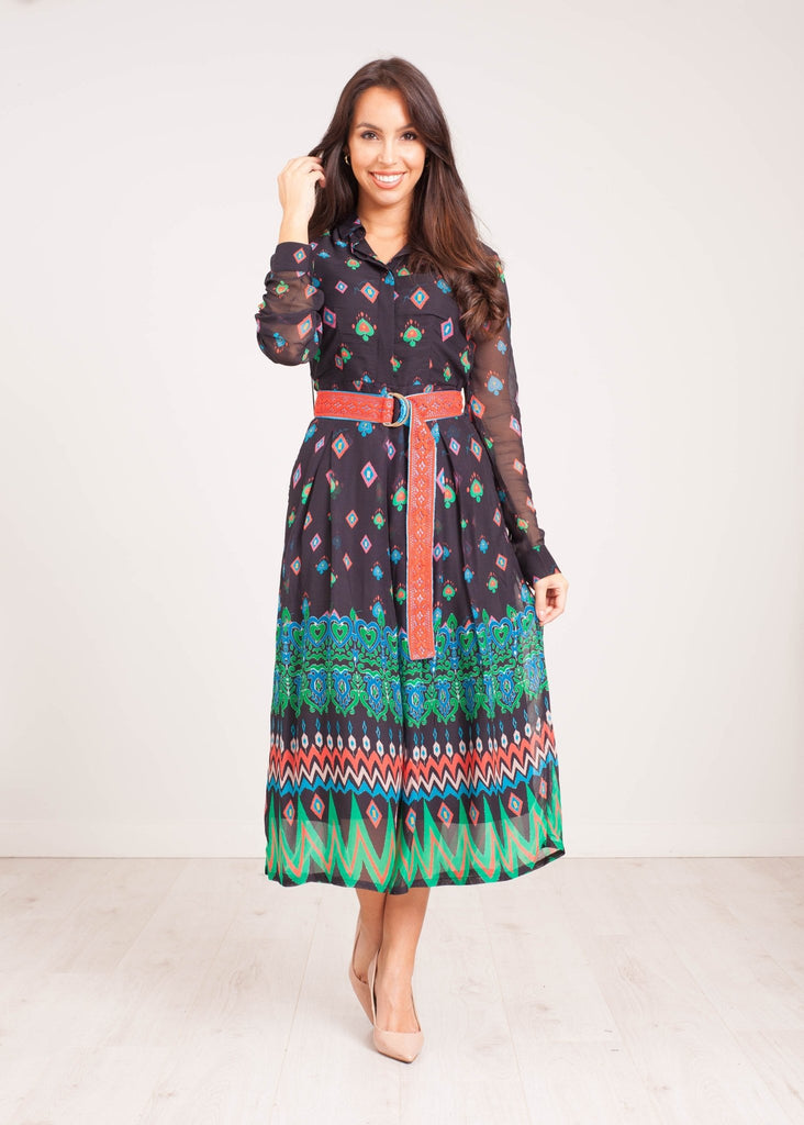 Emily Pleated Dress In Mix Print - The Walk in Wardrobe