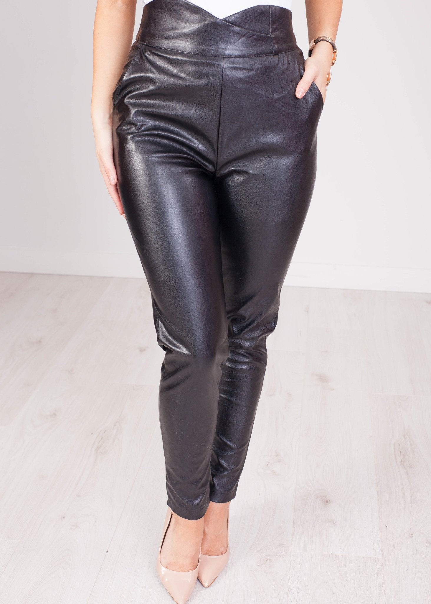 Erin High Waist Detail Leather Trouser - The Walk in Wardrobe