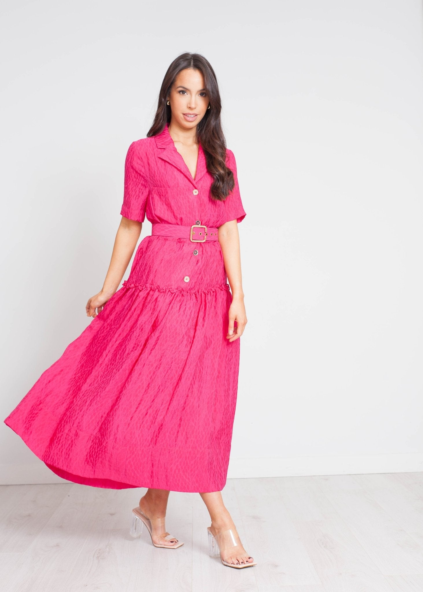 Eva Button Front Dress In Pink - The Walk in Wardrobe