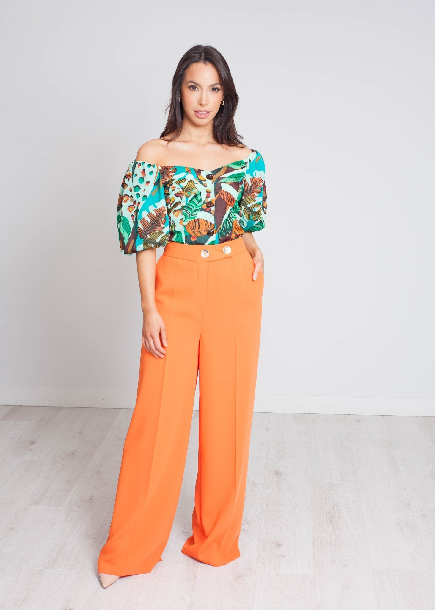 Eva Button Front Top In Green Mix - The Walk in Wardrobe