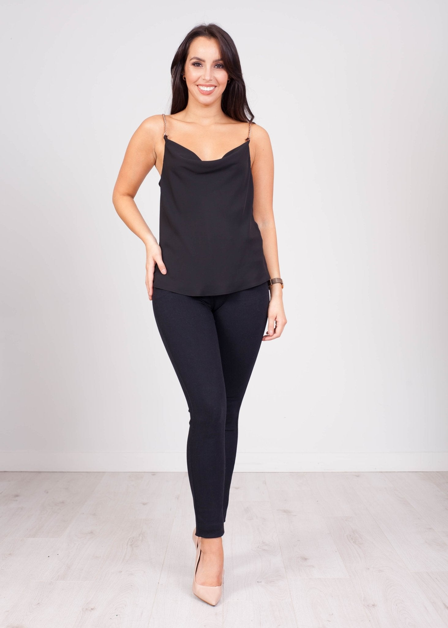 Eva Chain Cami in Black - The Walk in Wardrobe