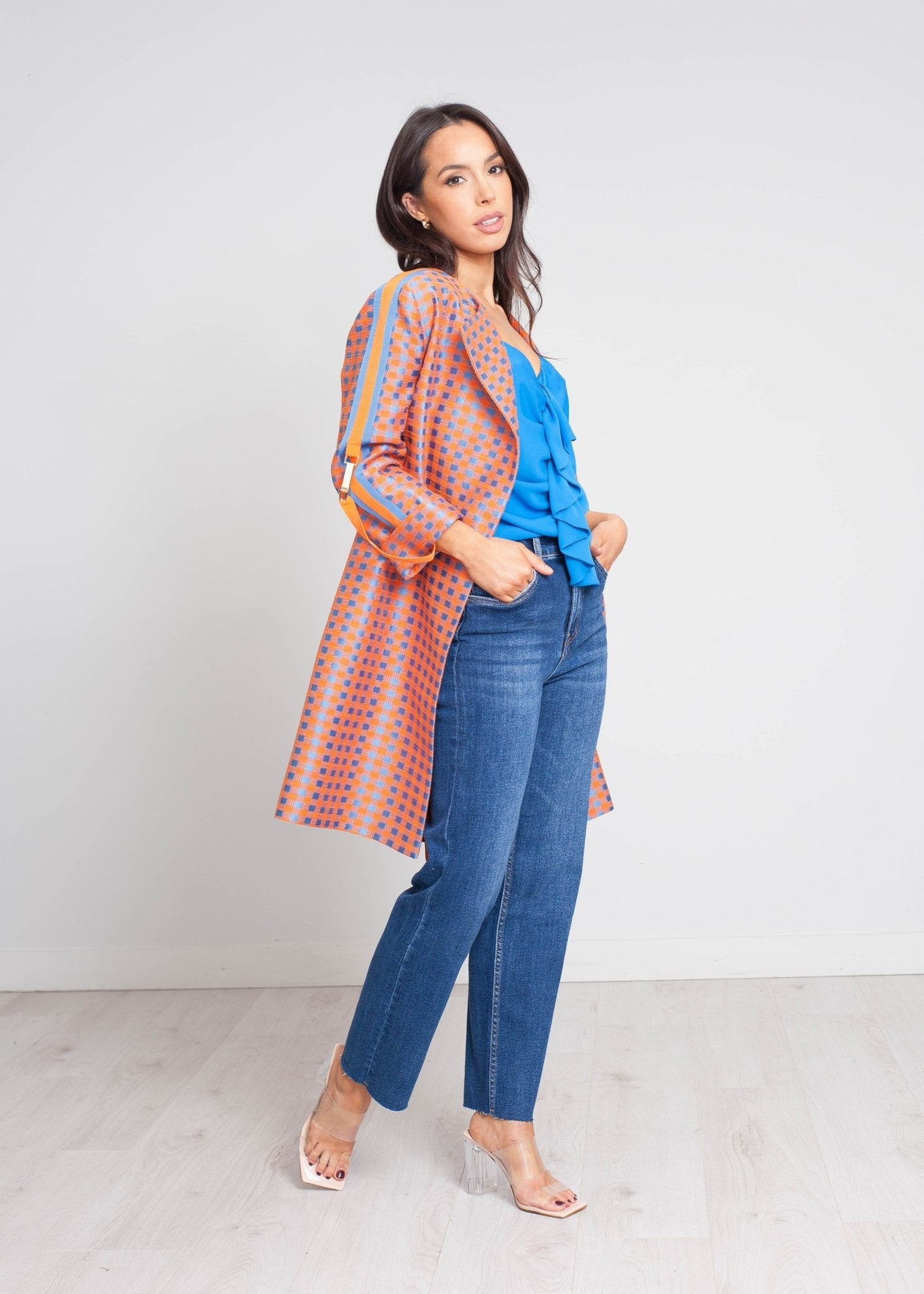 Eva Check Jacket In Blue & Orange - The Walk in Wardrobe
