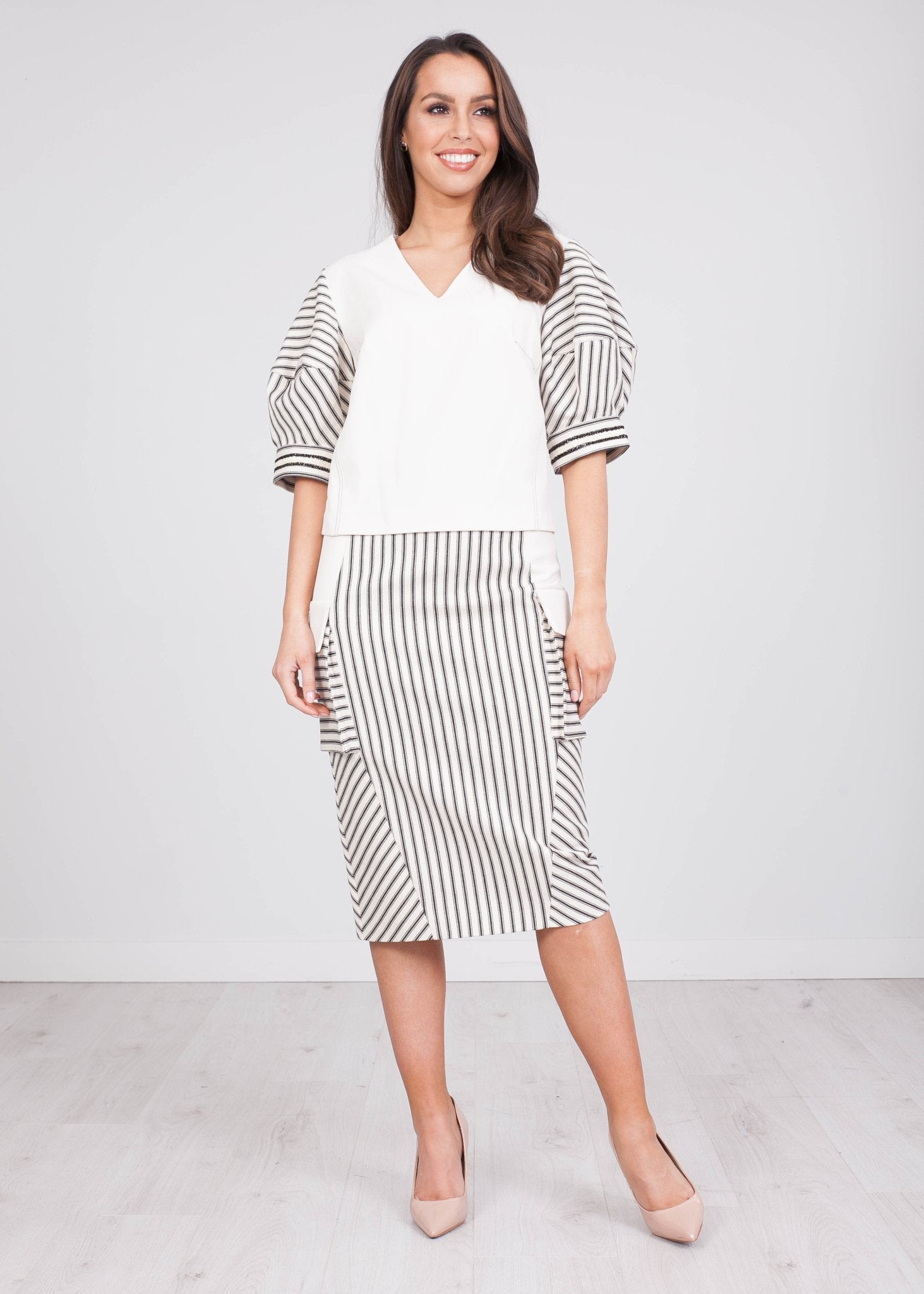 Eva Cream Stripe Two Piece - The Walk in Wardrobe