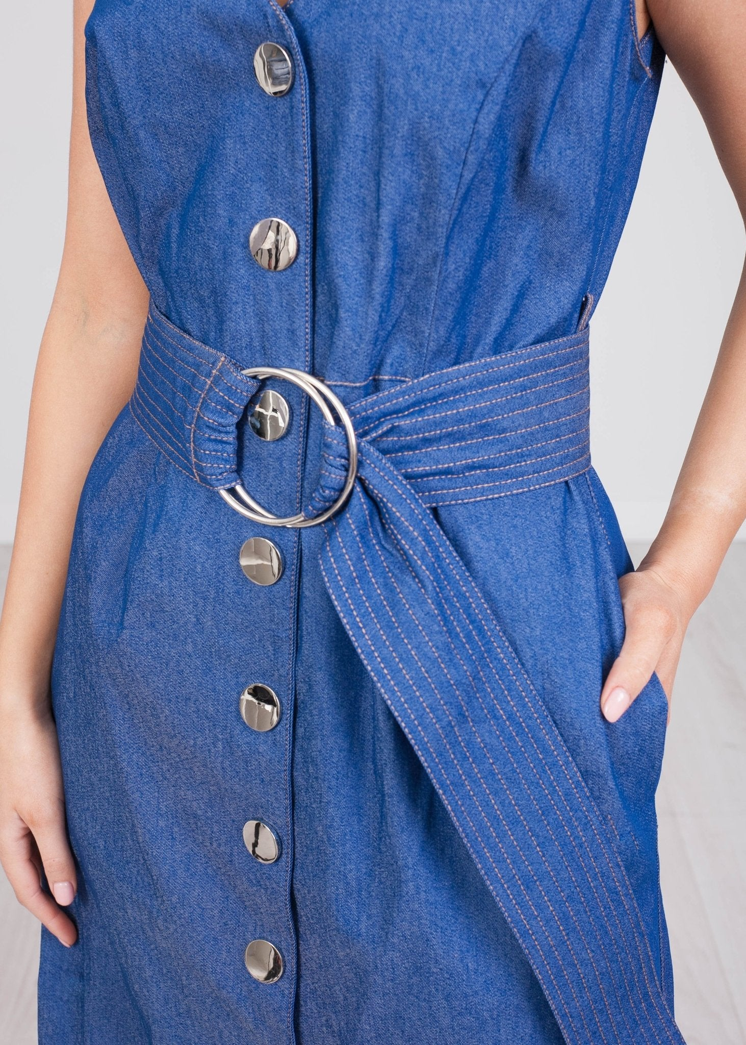 Eva Denim Belted Dress - The Walk in Wardrobe