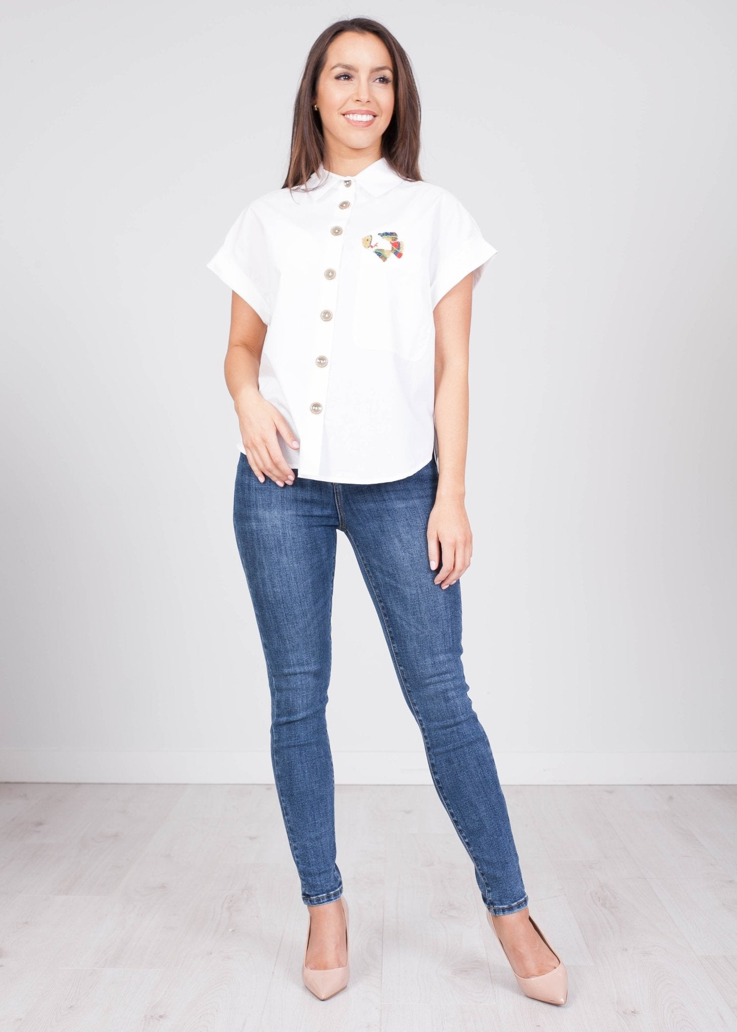 Eva Embellished Pocket Shirt - The Walk in Wardrobe
