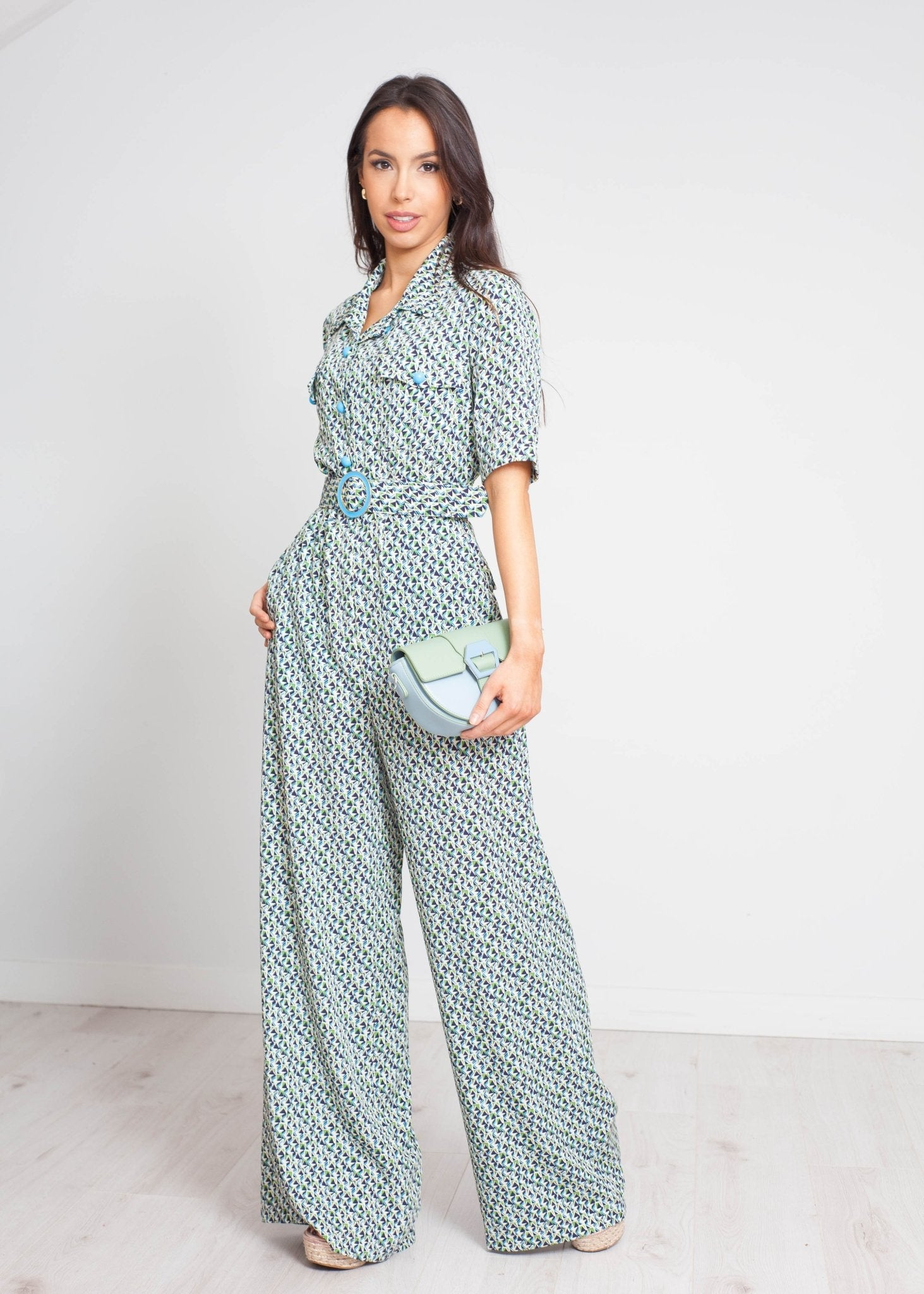 Eva Geometric Print Jumpsuit In Green - The Walk in Wardrobe