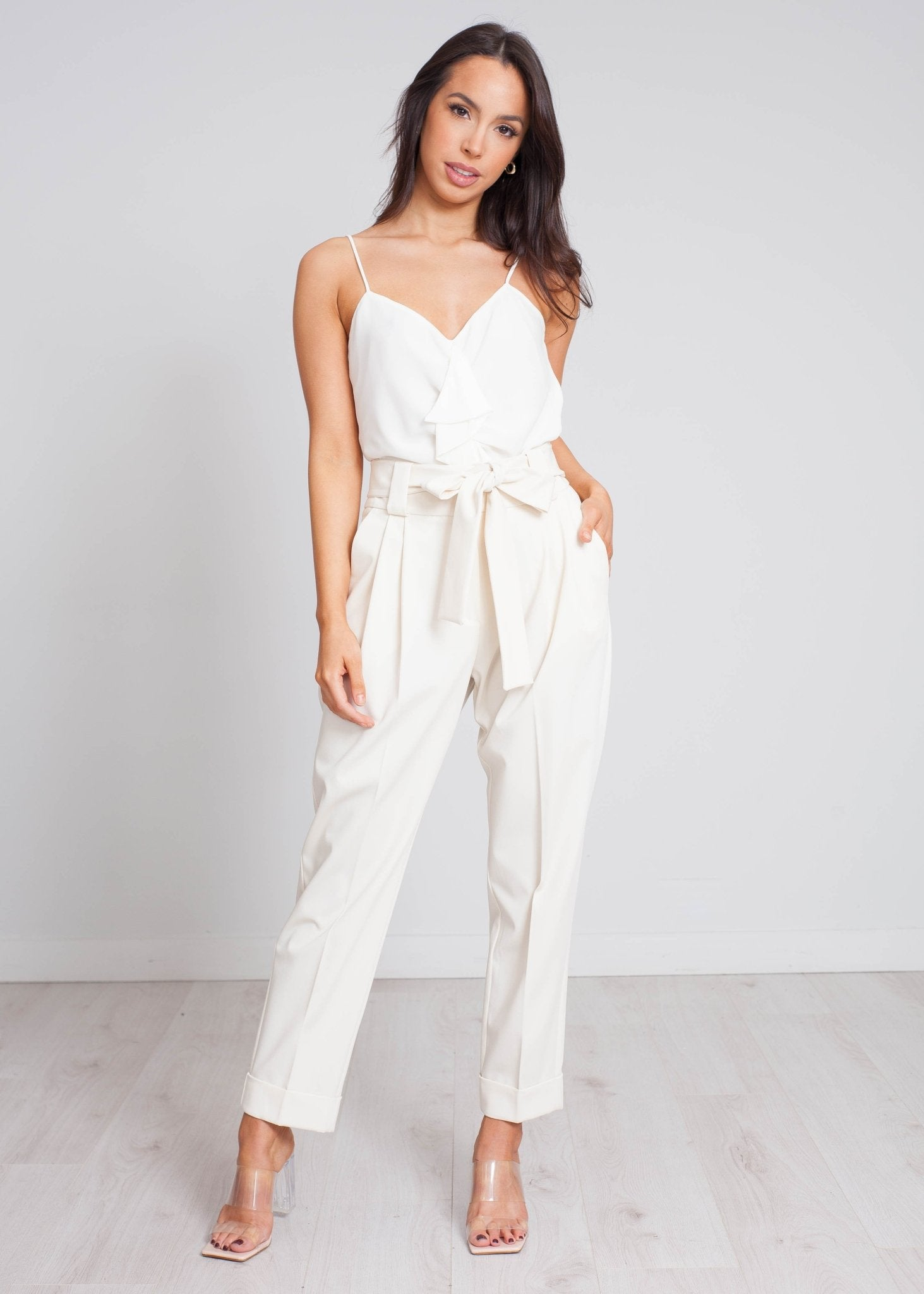 Eva High Waist Trouser In Cream - The Walk in Wardrobe