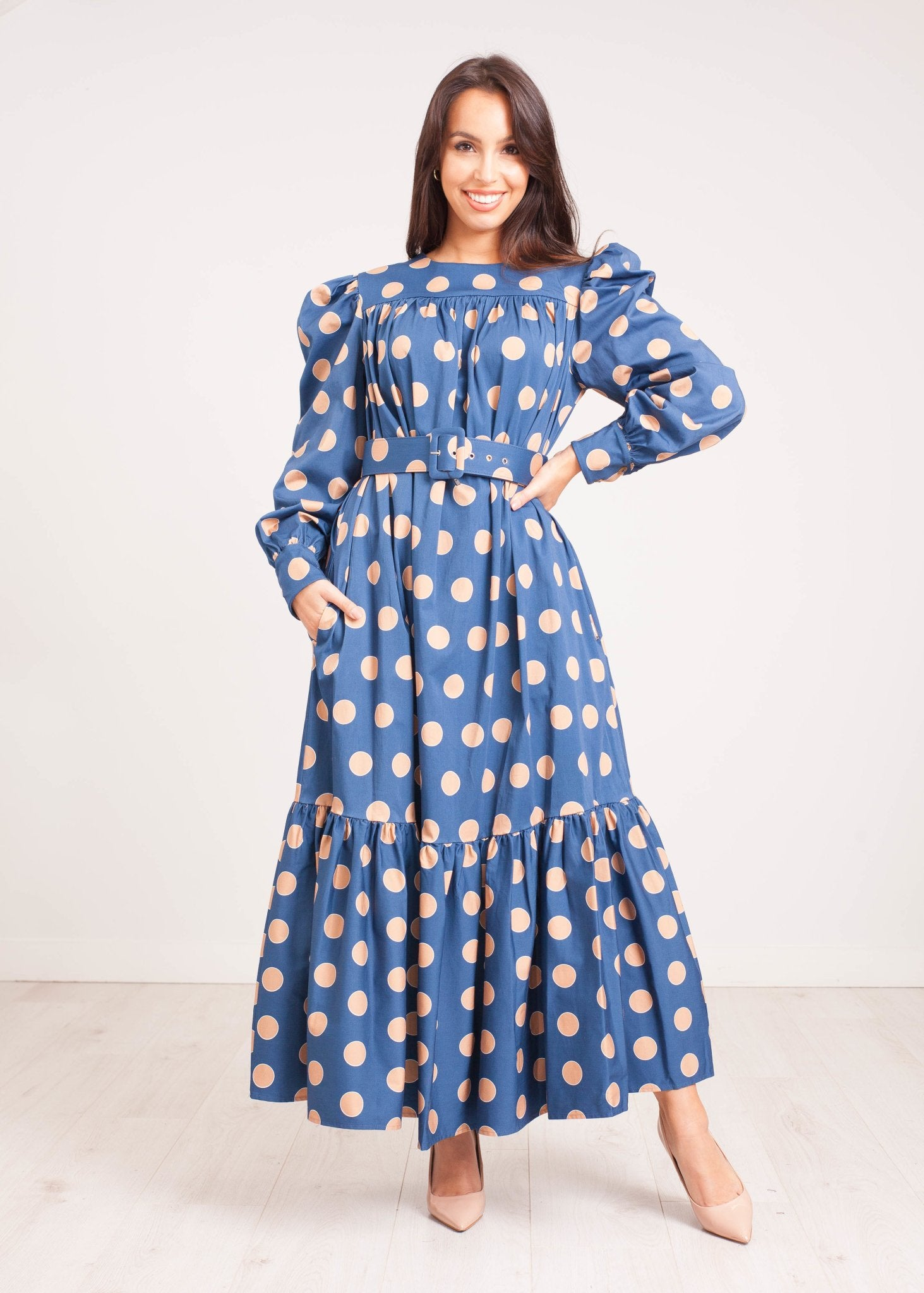 Eva Midi Dress in Blue Polka Dot - The Walk in Wardrobe