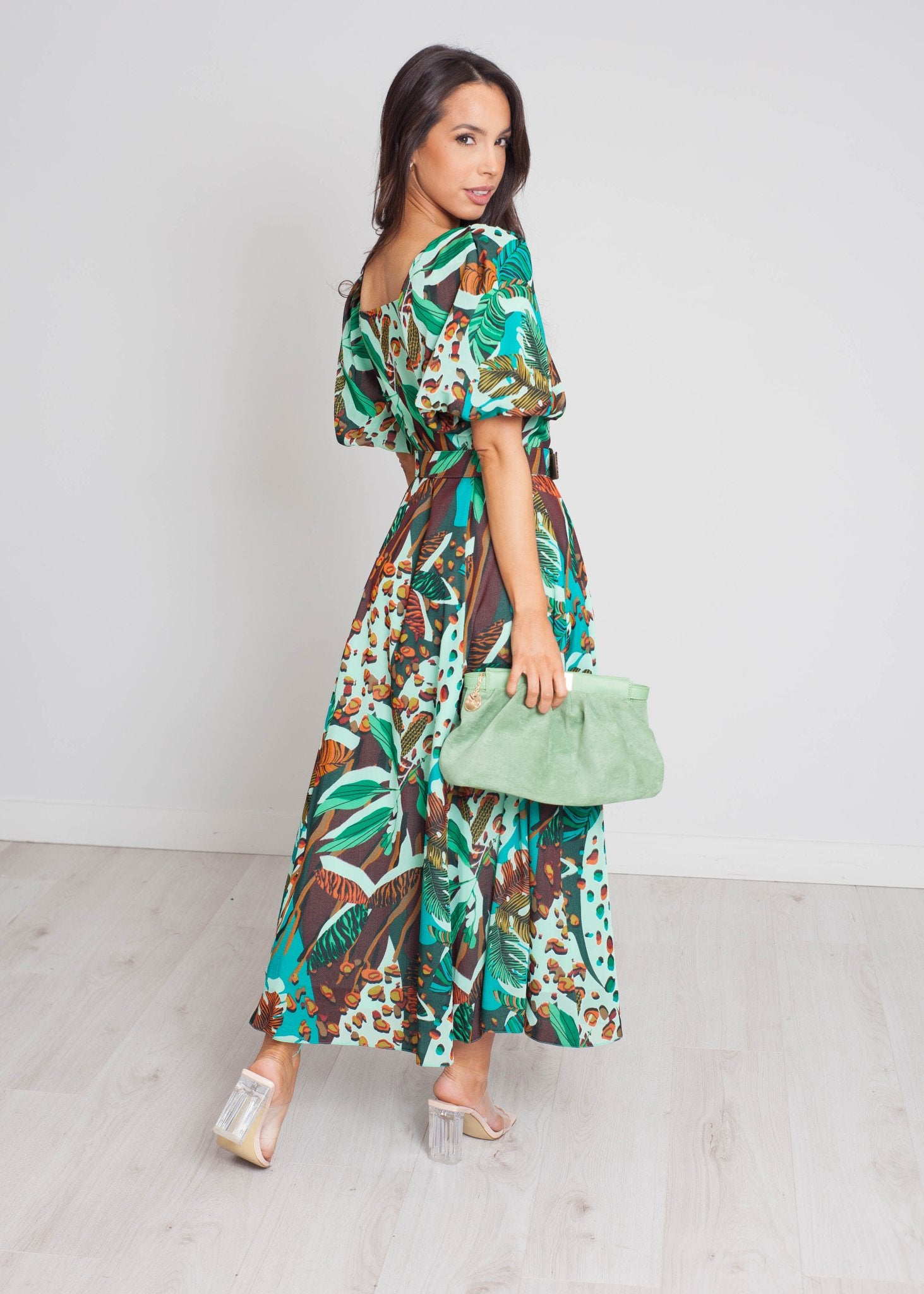 Eva Midi Dress In Green Mix - The Walk in Wardrobe