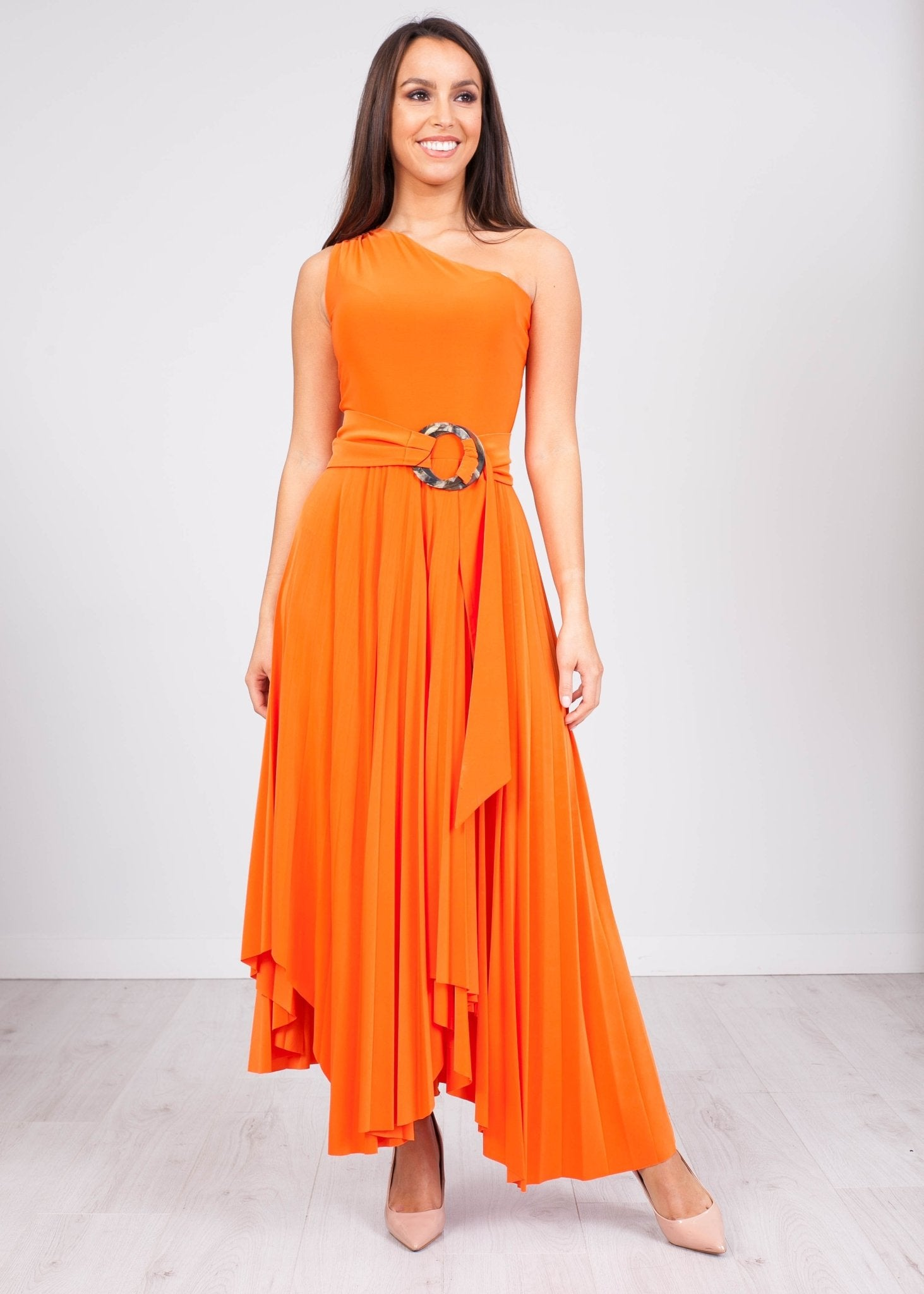 Eva Orange One Shoulder Dress - The Walk in Wardrobe