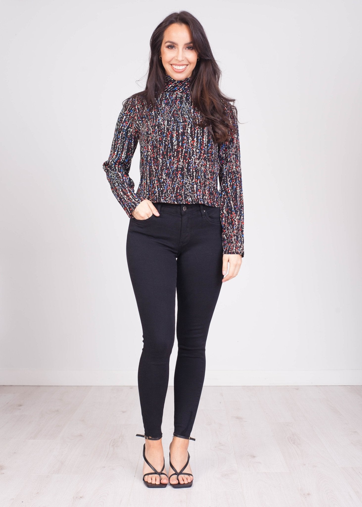 Eva Paint Speckled High Neck Blouse - The Walk in Wardrobe