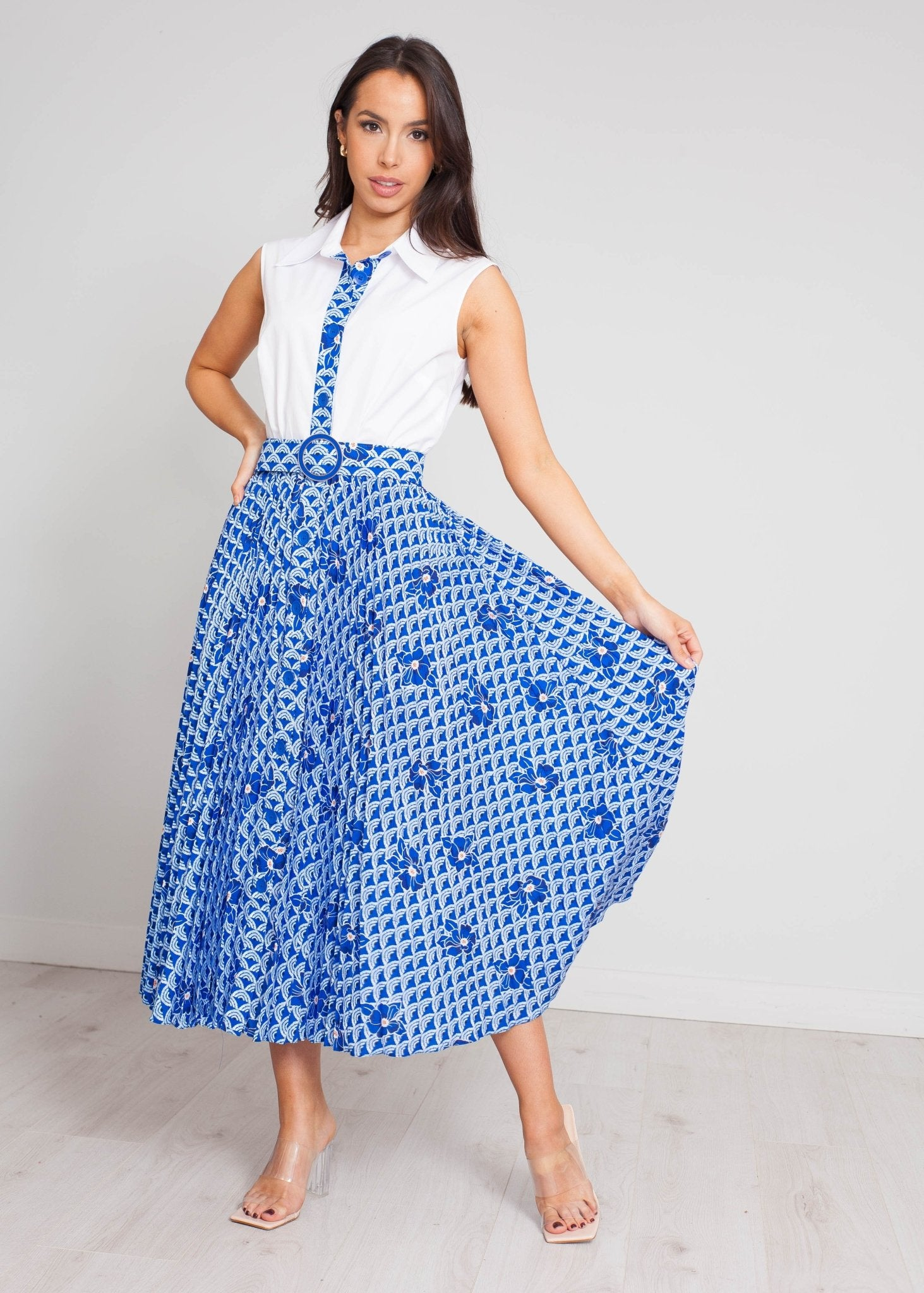 Eva Pleated Midi Dress In Blue Mix - The Walk in Wardrobe