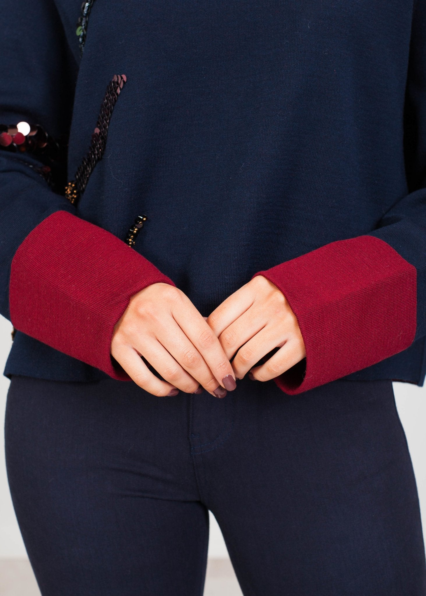 Eva Polo Neck In Navy With Sequins - The Walk in Wardrobe