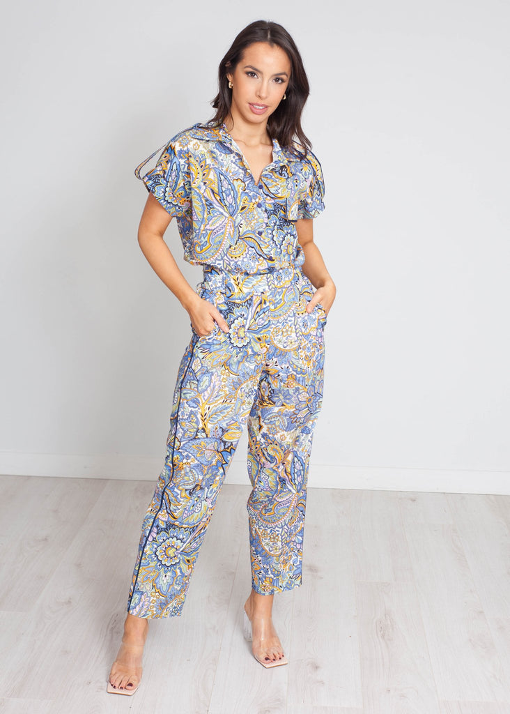Eva Printed Two Piece In Blue Mix - The Walk in Wardrobe