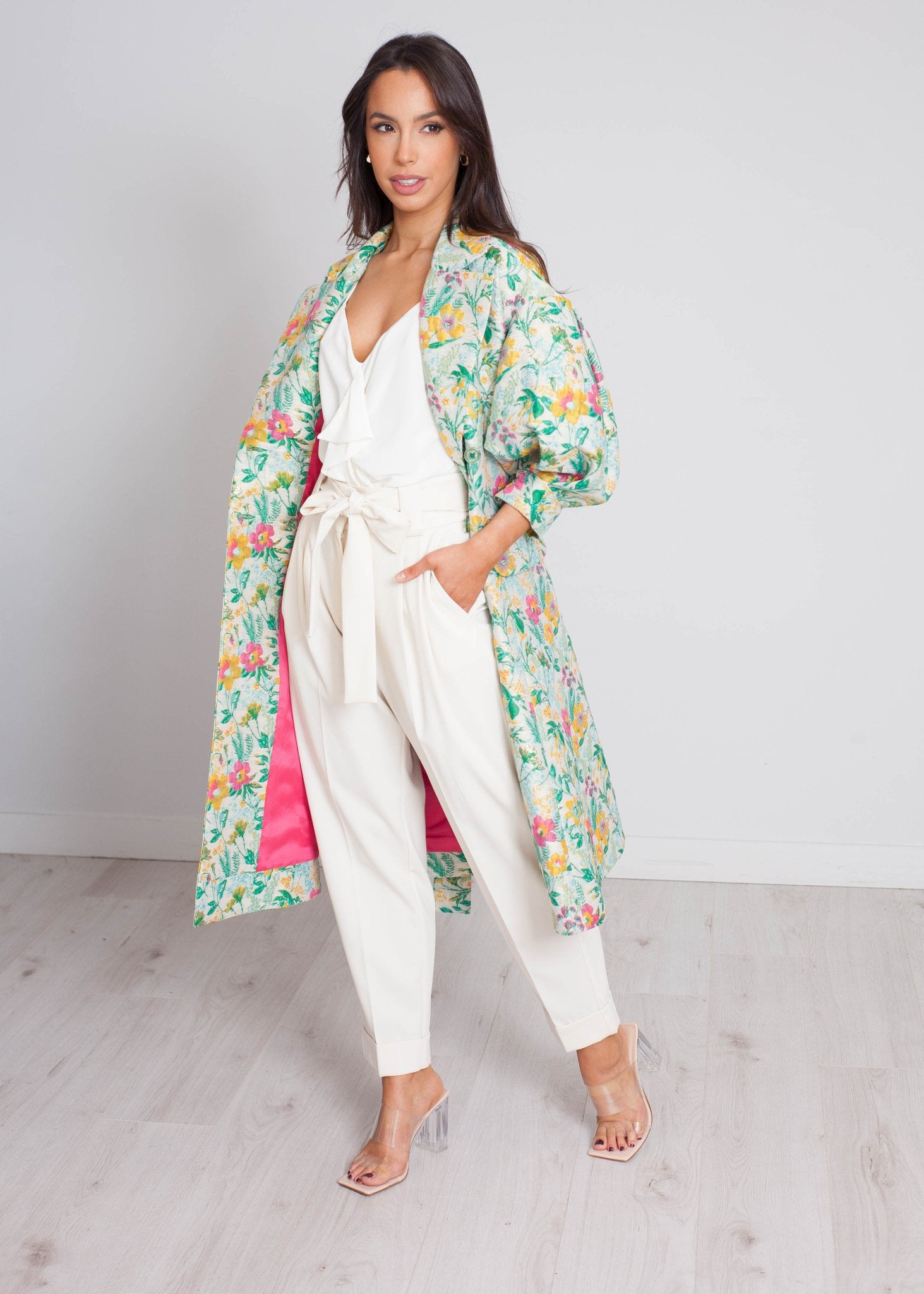 Eva Printed Wrap Coat In Pink Mix - The Walk in Wardrobe
