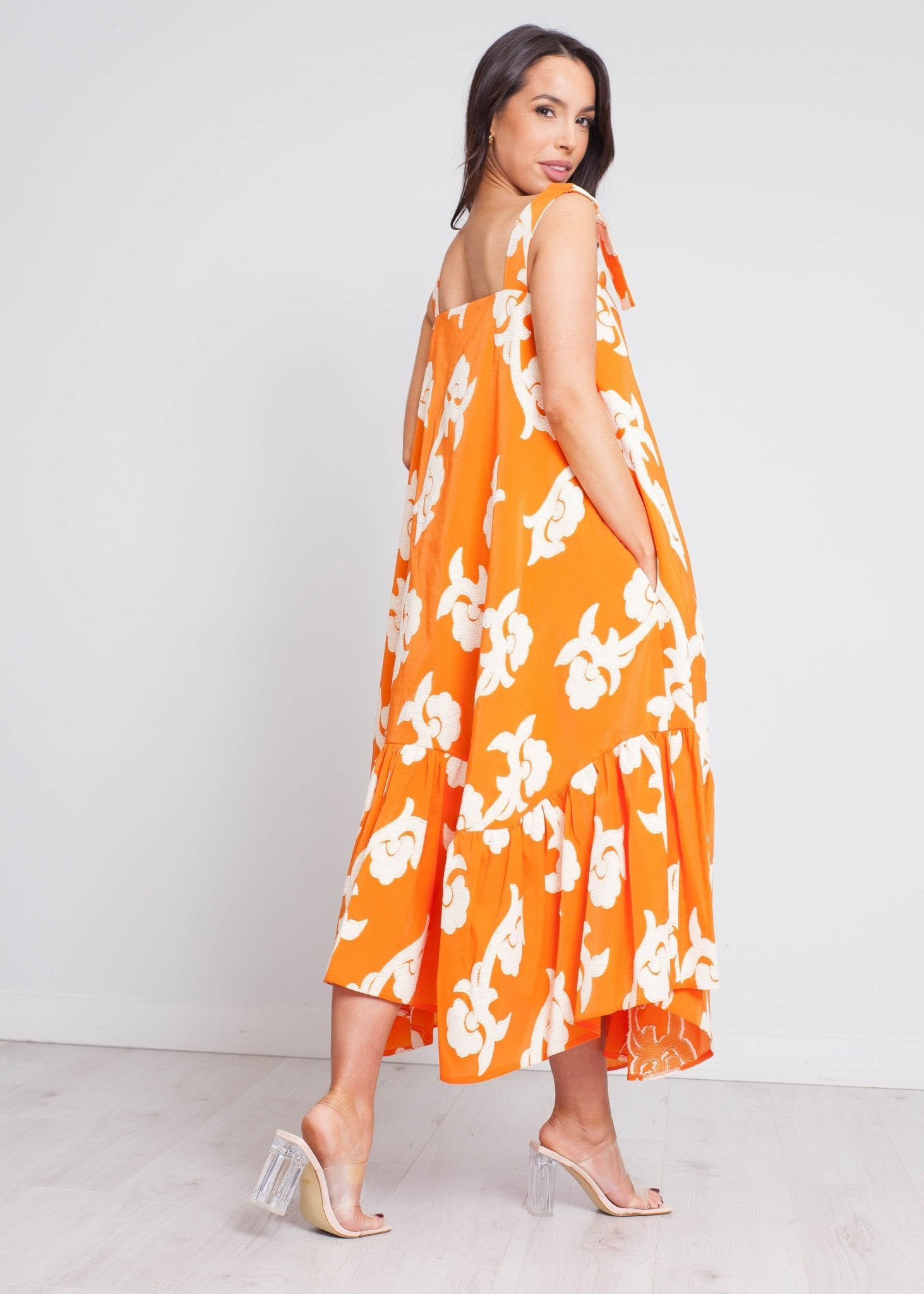 Eva Swing Dress In Orange & Cream - The Walk in Wardrobe