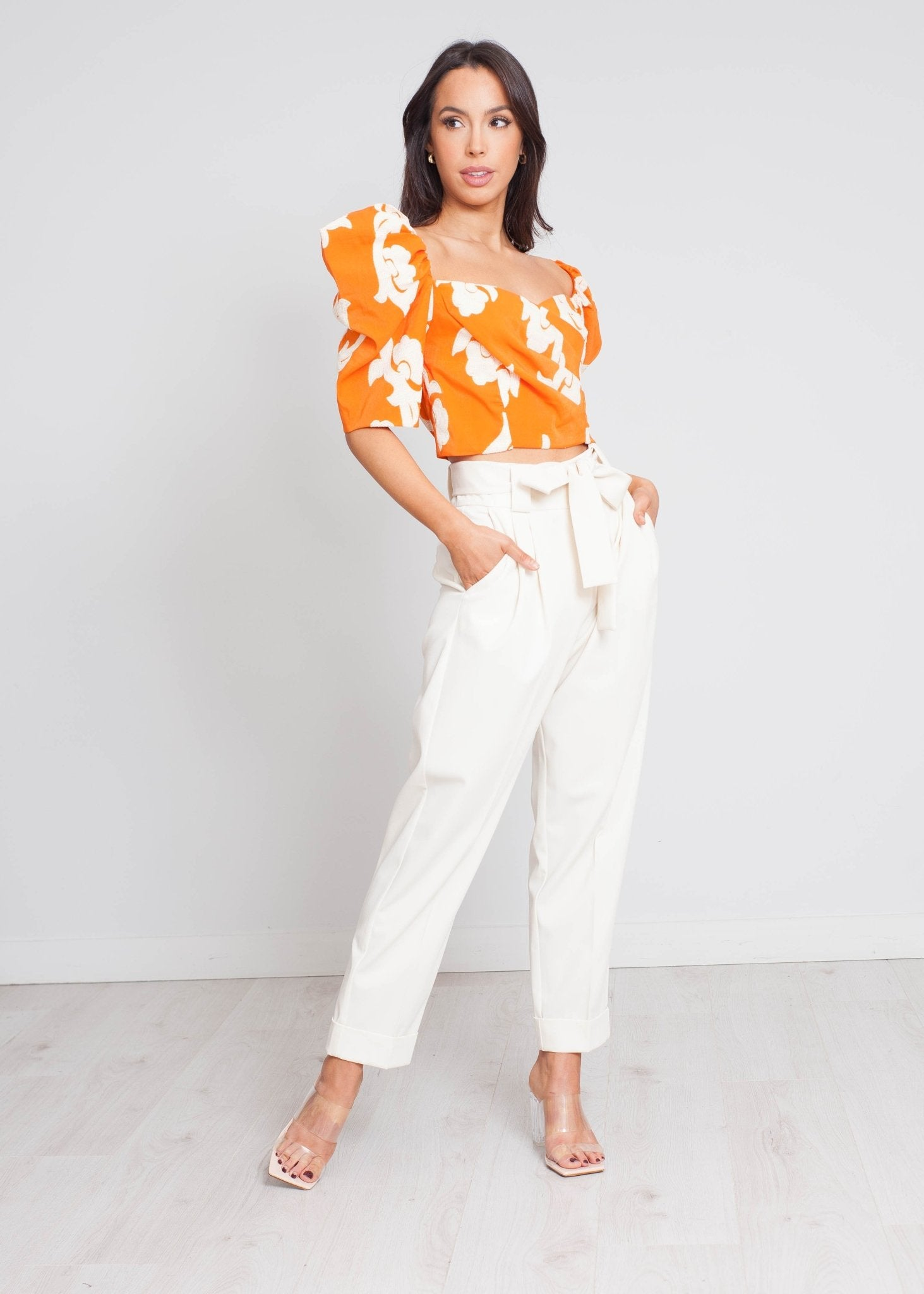 Eva Top With Puff Sleeves In Orange Mix - The Walk in Wardrobe