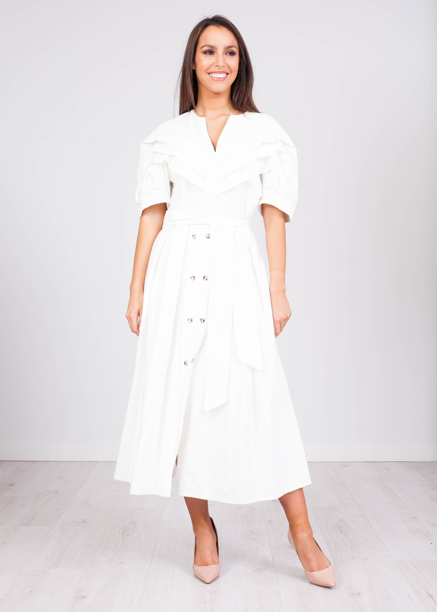 Eva White Button Front Dress - The Walk in Wardrobe
