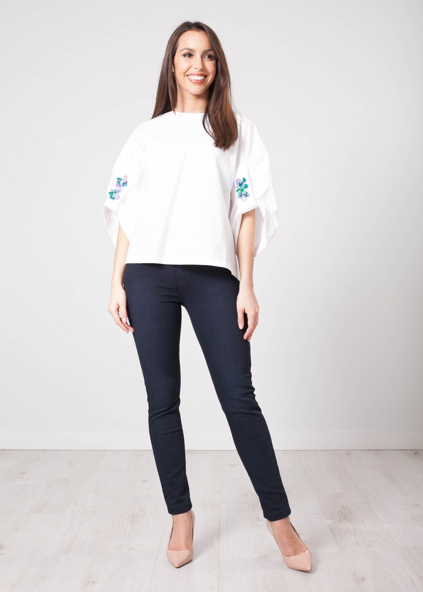 Eva White Embellished Top - The Walk in Wardrobe