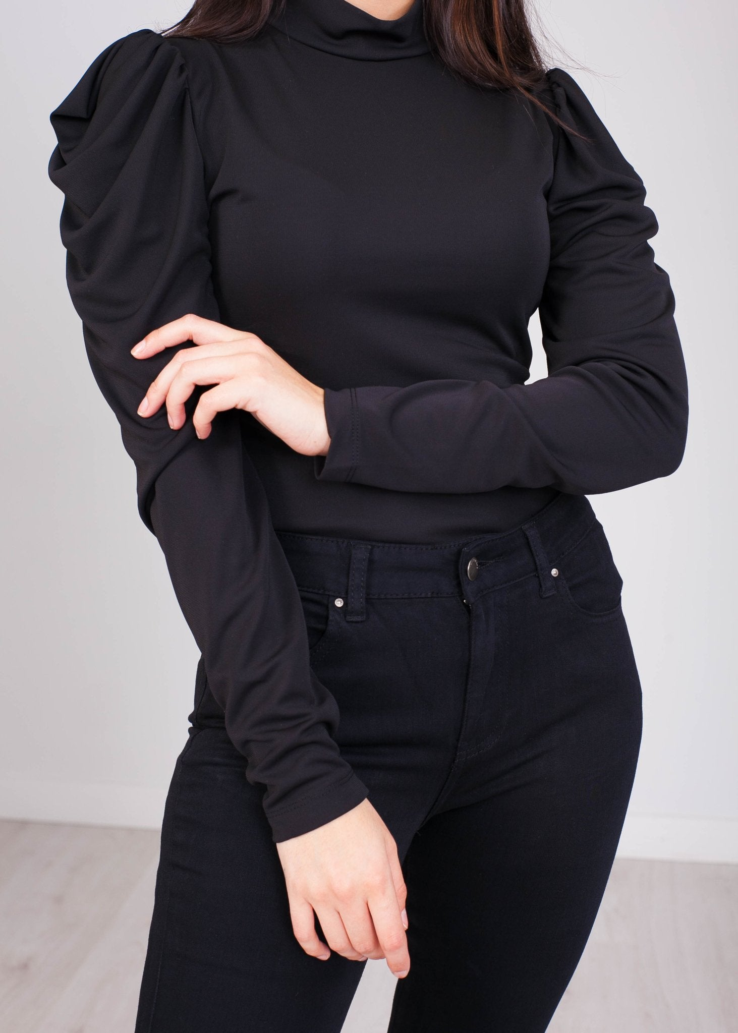 Faye Black Puff Sleeve Bodysuit - The Walk in Wardrobe