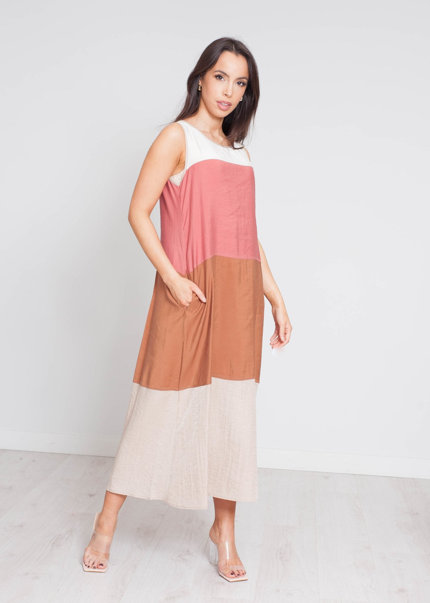 Faye Colour Block Dress In Neutral Mix - The Walk in Wardrobe