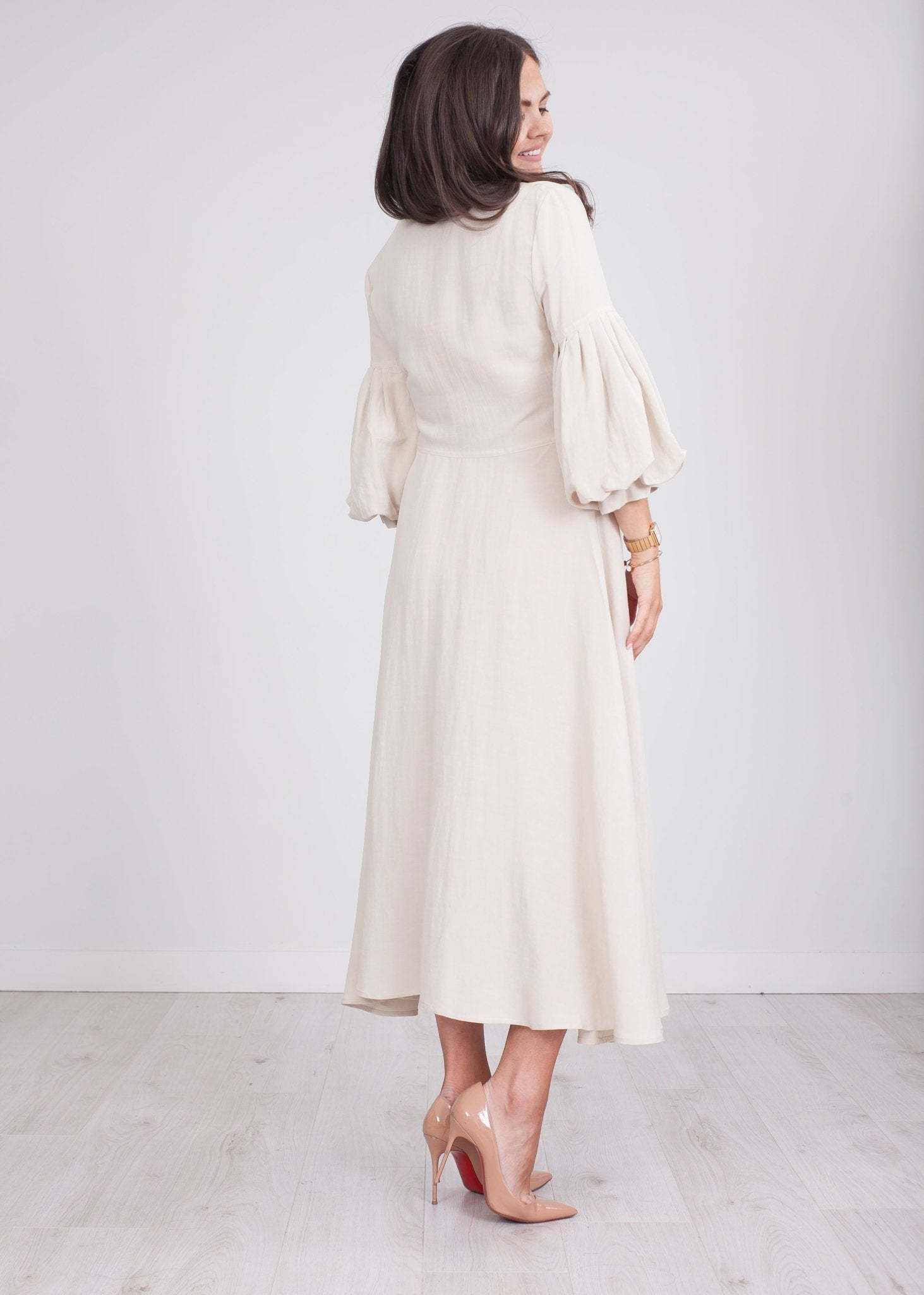 Faye Cream Midi Dress - The Walk in Wardrobe
