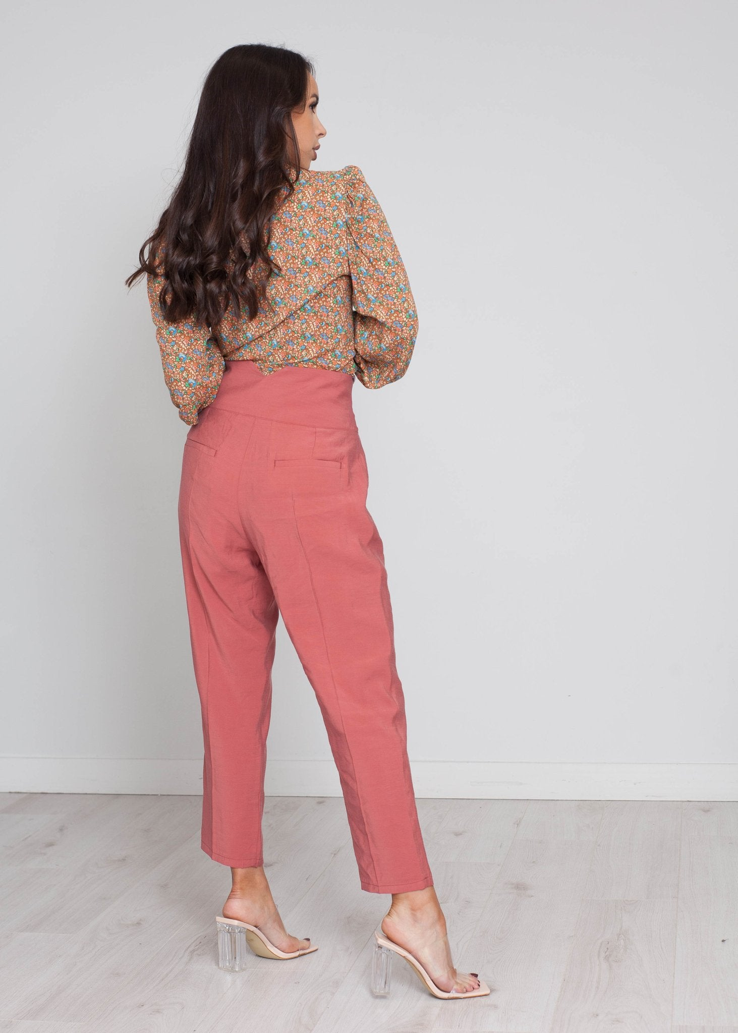 Faye High Waist Trouser In Terracotta - The Walk in Wardrobe