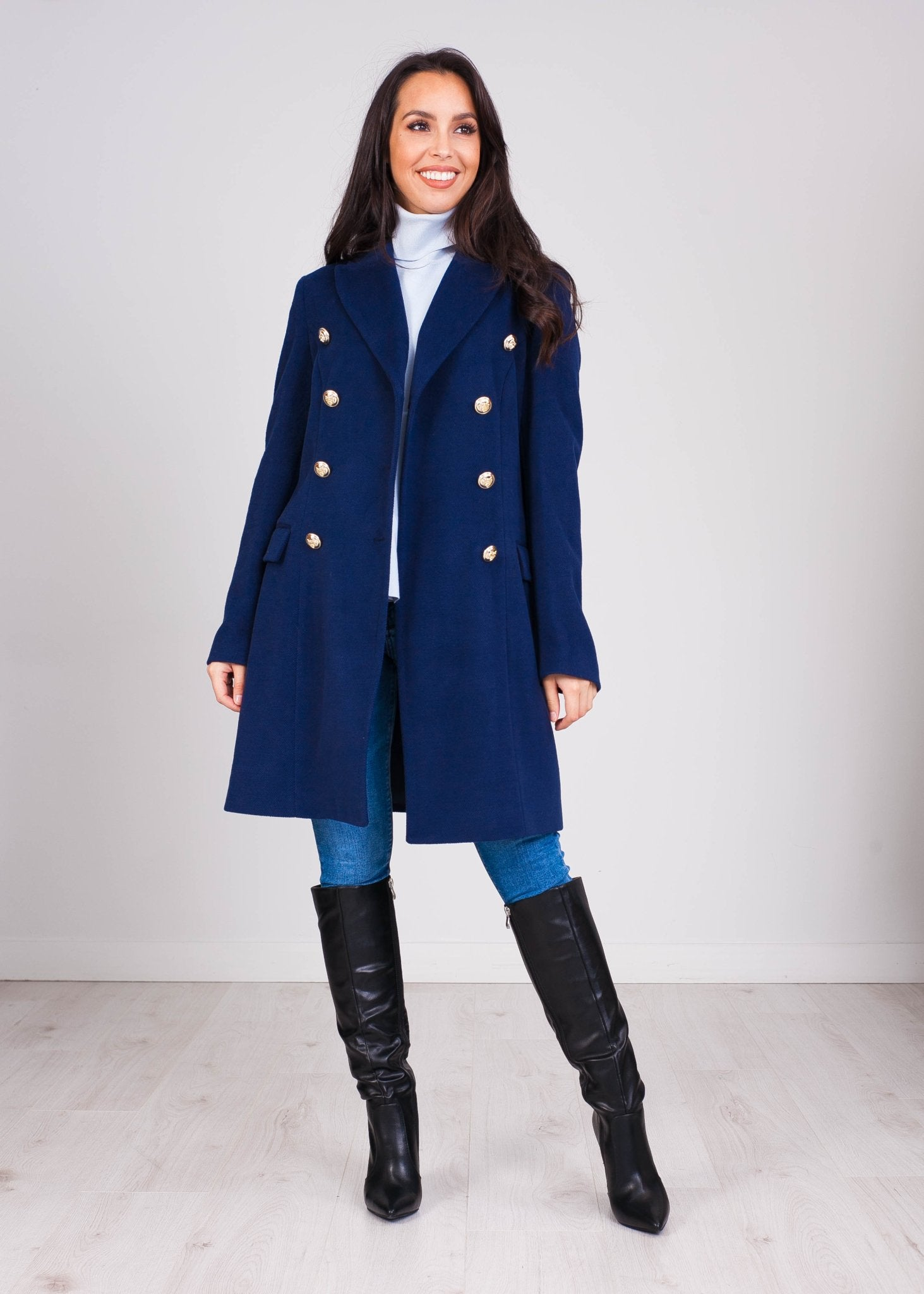 Faye Navy Coat - The Walk in Wardrobe