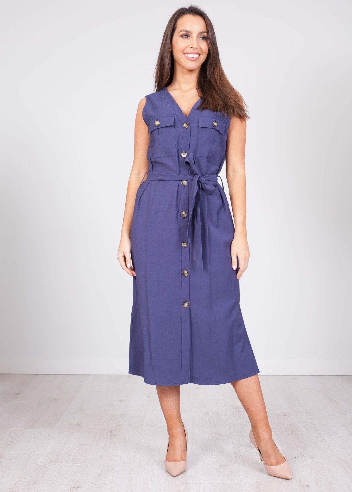 Faye Navy Tie Waist Dress - The Walk in Wardrobe
