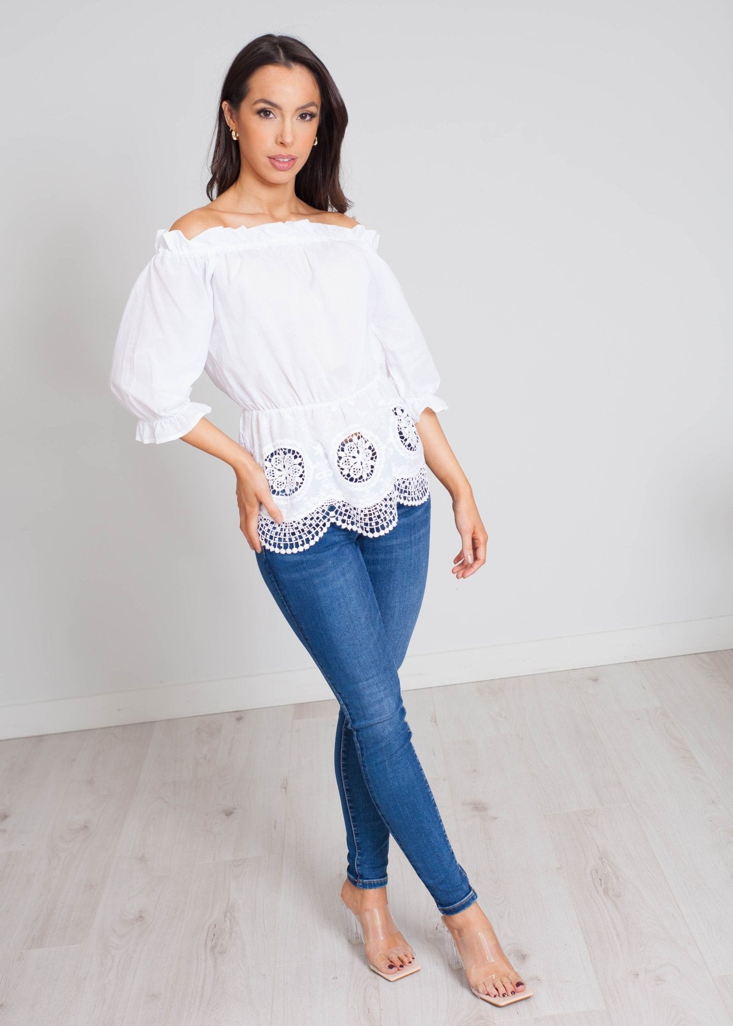 Faye Off Shoulder Embroidered Top In White - The Walk in Wardrobe