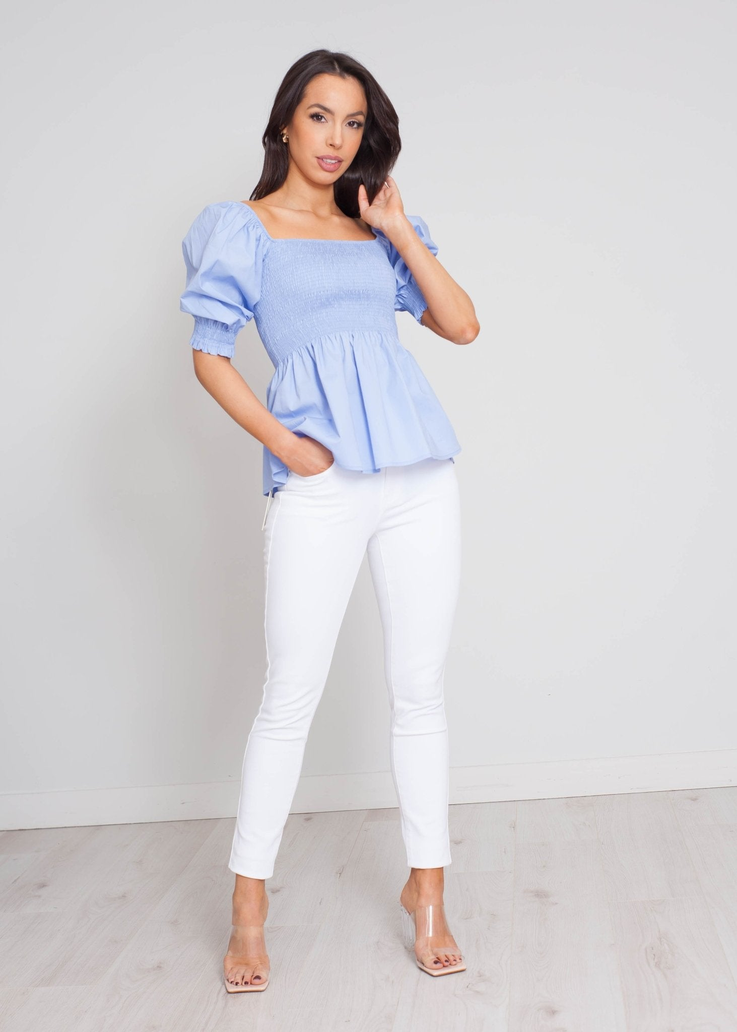Faye Peplum Top In Powder Blue - The Walk in Wardrobe