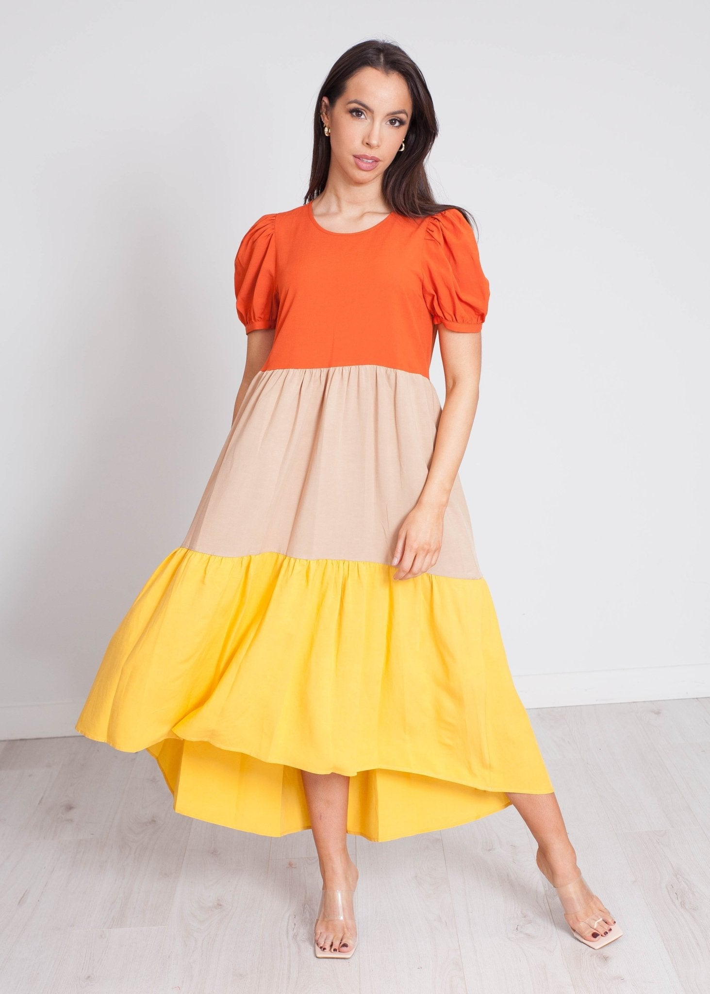 Faye Tiered Dress In Orange Mix - The Walk in Wardrobe