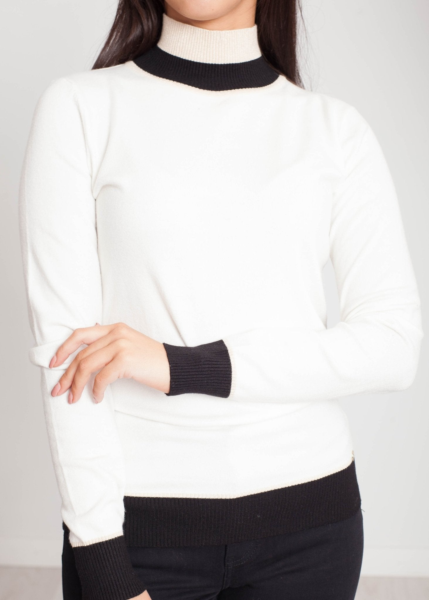 Faye Turtle Neck In Winter White - The Walk in Wardrobe