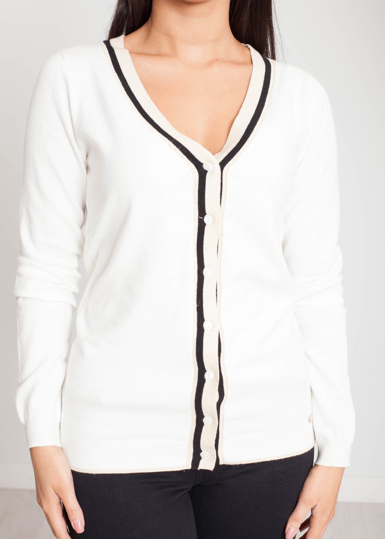Faye V-Neck Cardigan In Winter White - The Walk in Wardrobe