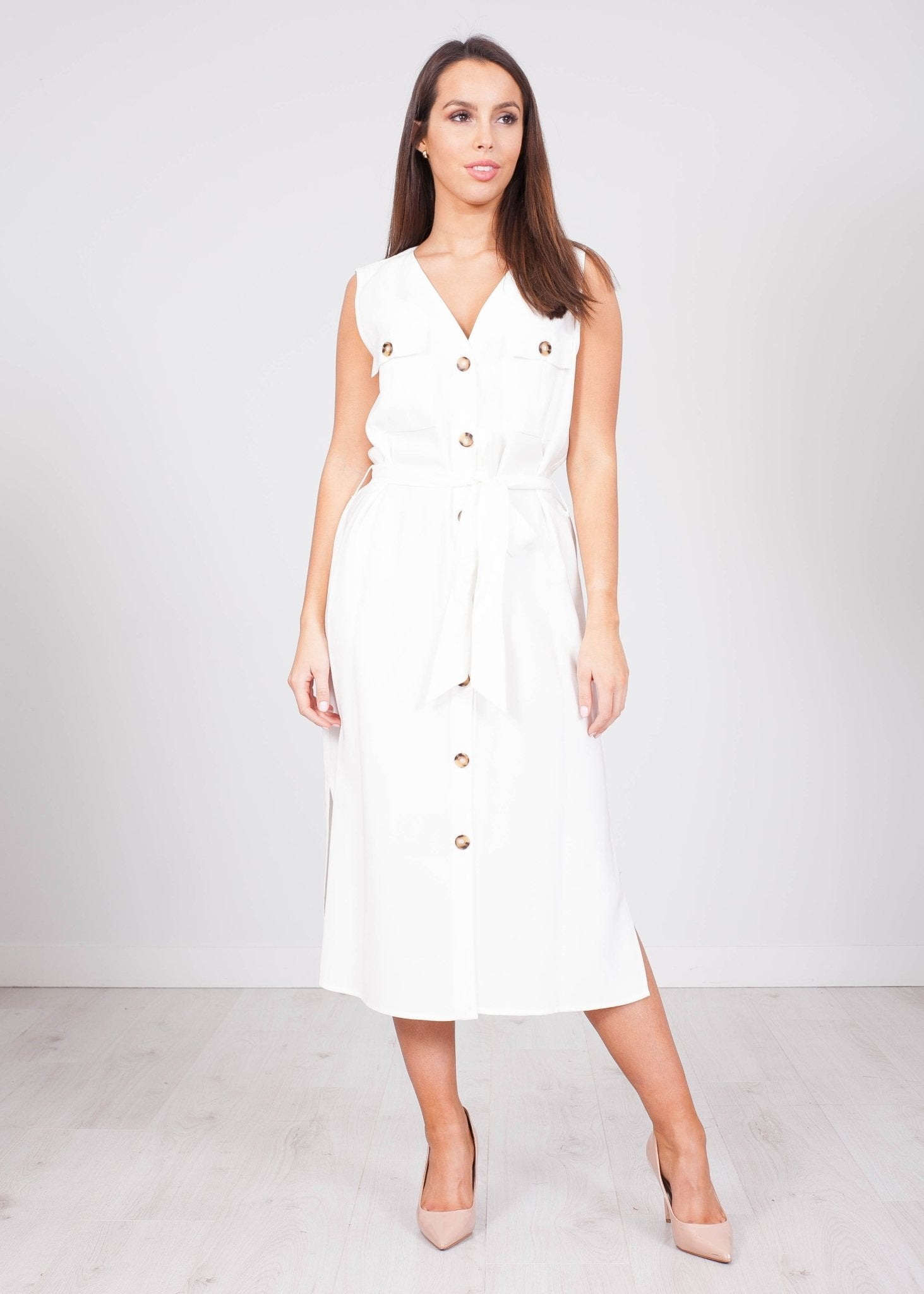 Faye White Tie Waist Dress - The Walk in Wardrobe