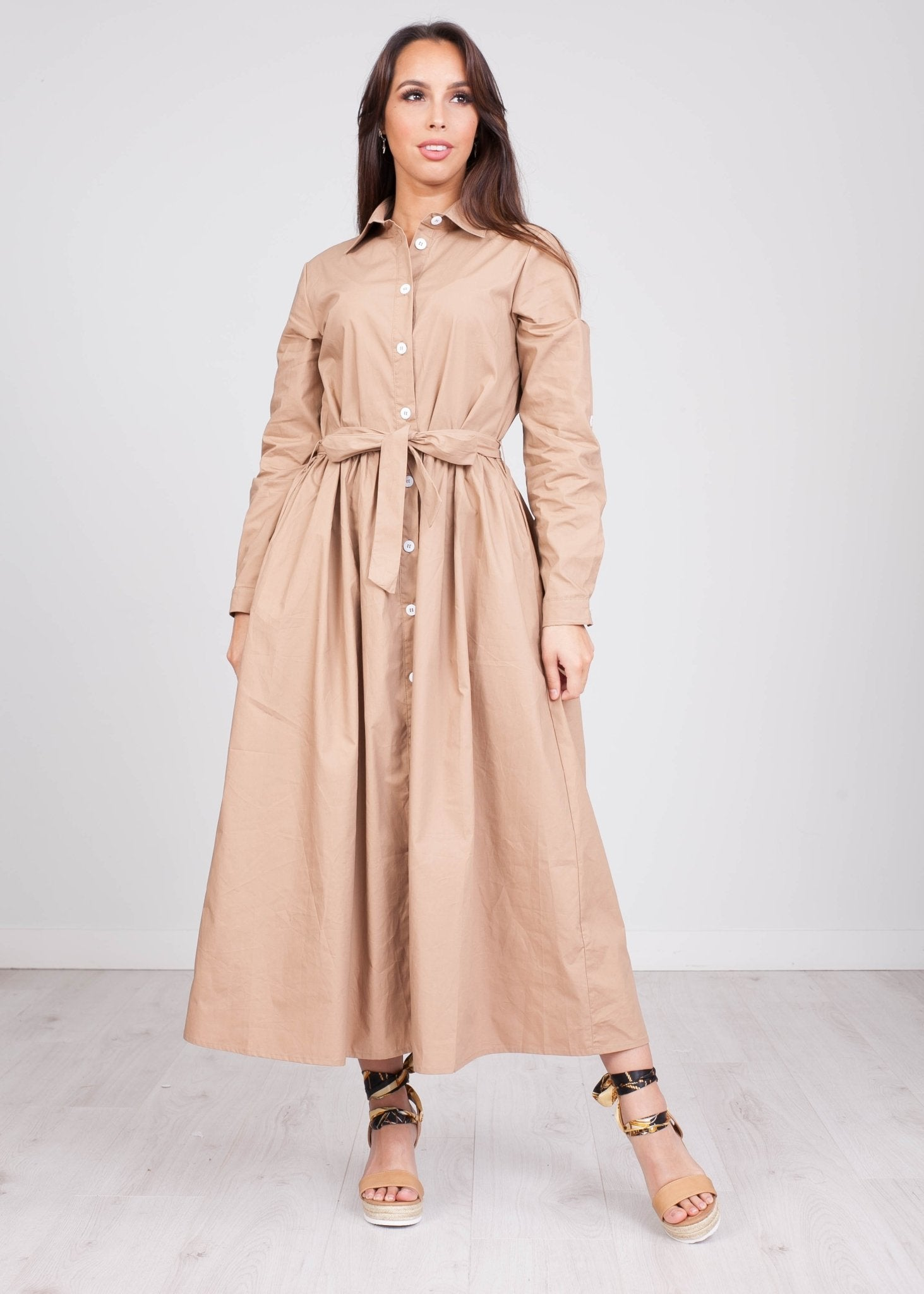 FiFi Beige Midi Dress - The Walk in Wardrobe