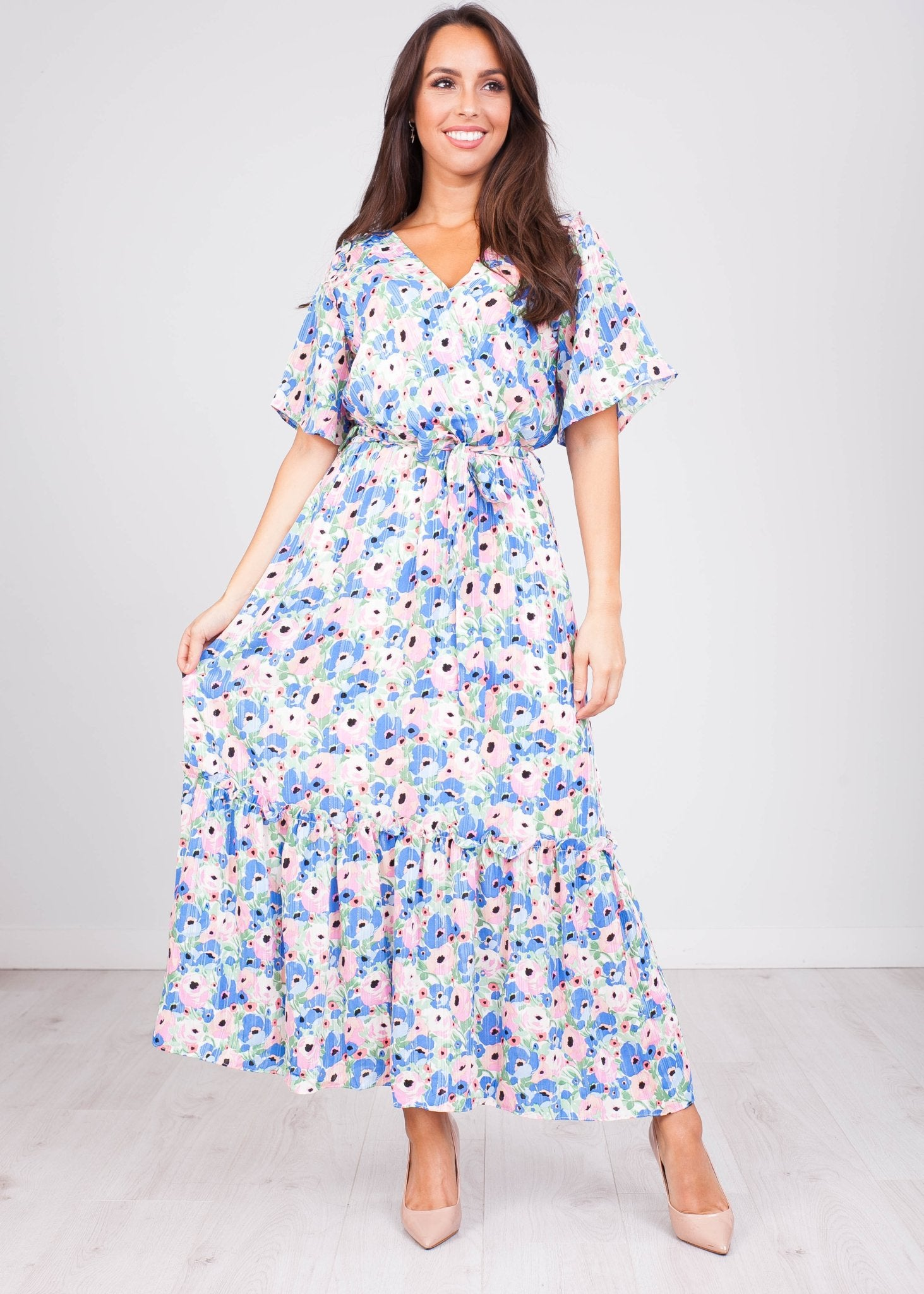 FiFi Blue Floral Midi Dress - The Walk in Wardrobe