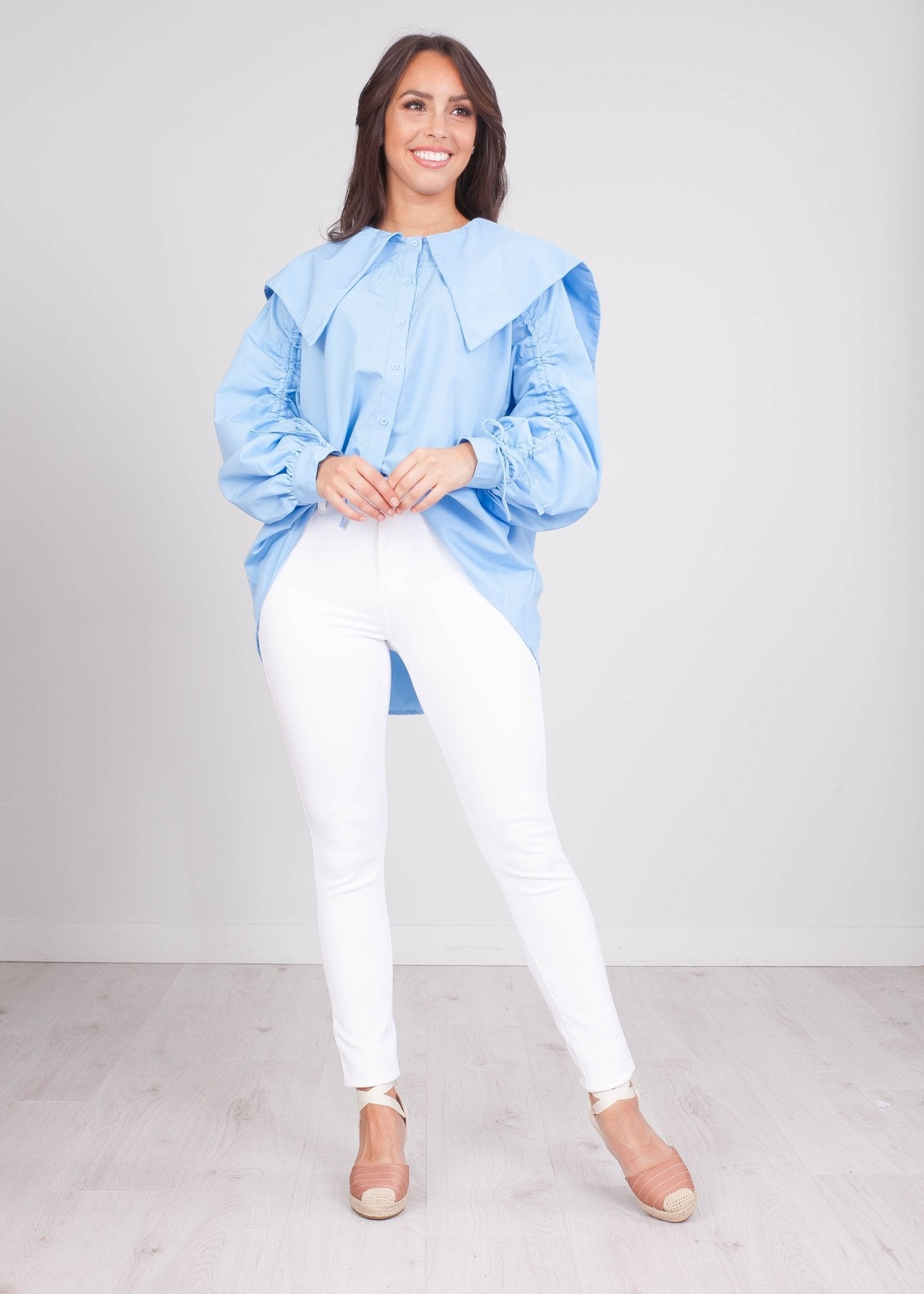 FiFi Blue Oversized Blouse - The Walk in Wardrobe