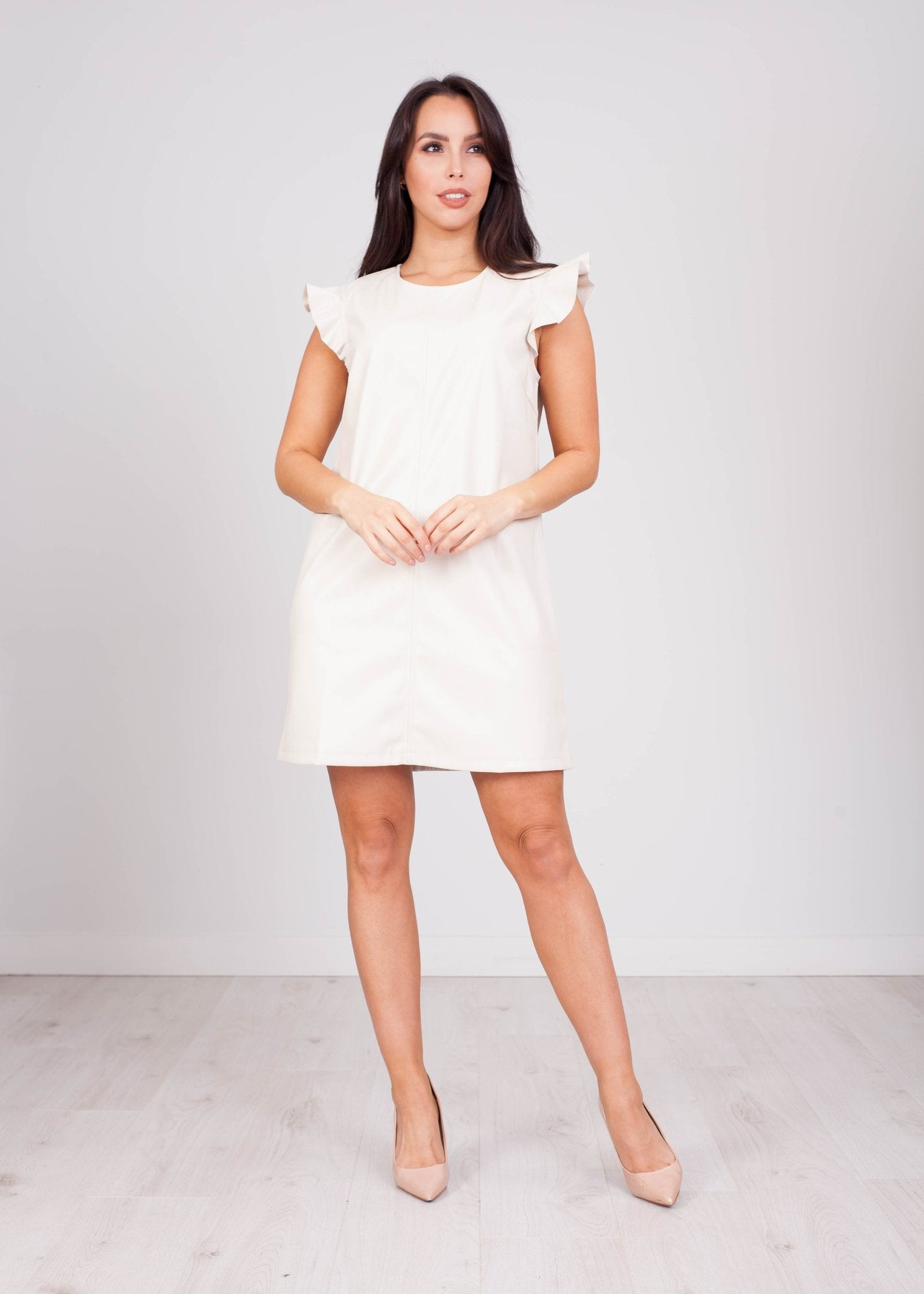 Fifi Cream Leather Mini Dress - The Walk in Wardrobe