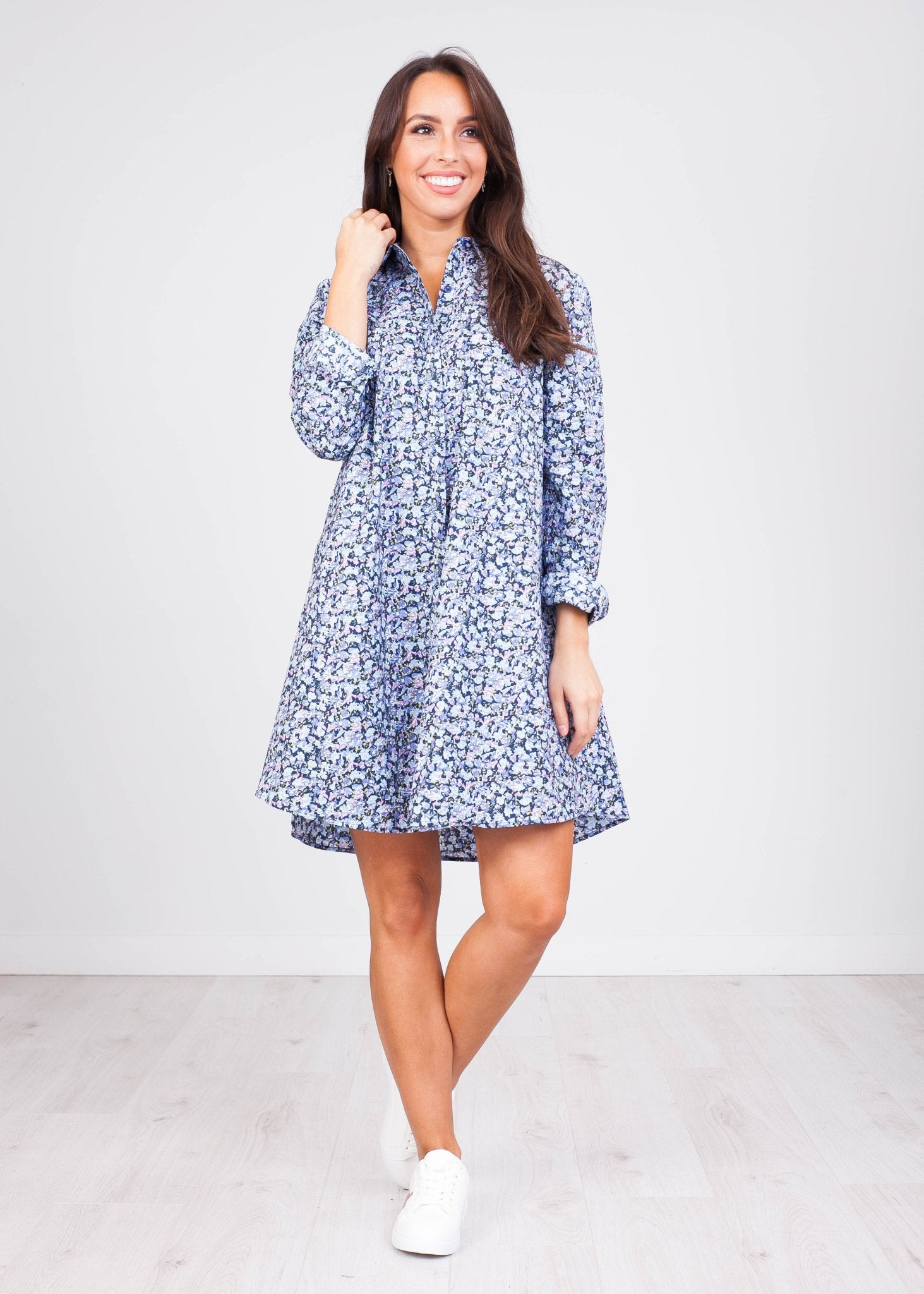 Fifi Floral Blue Mini Dress - The Walk in Wardrobe