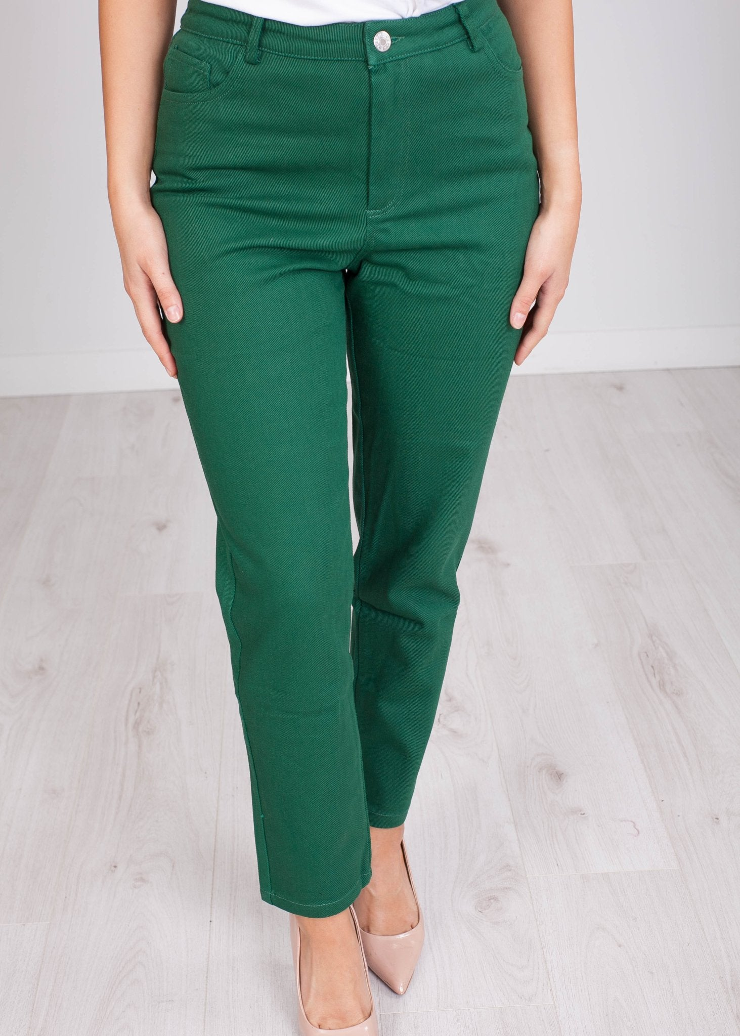 Fifi Green Ribbed Mom Jeans - The Walk in Wardrobe