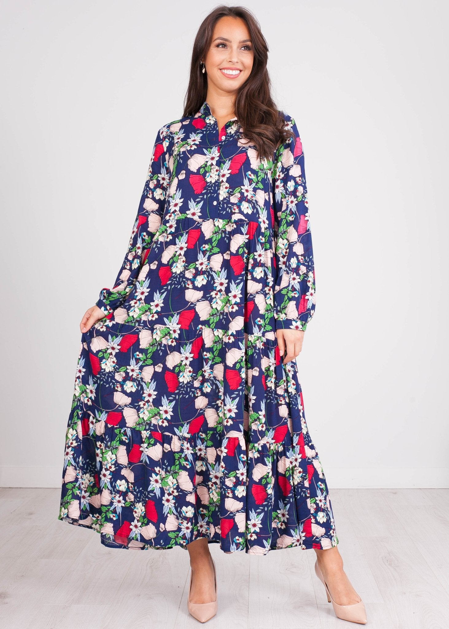 FiFi Navy Floral Midi Dress - The Walk in Wardrobe