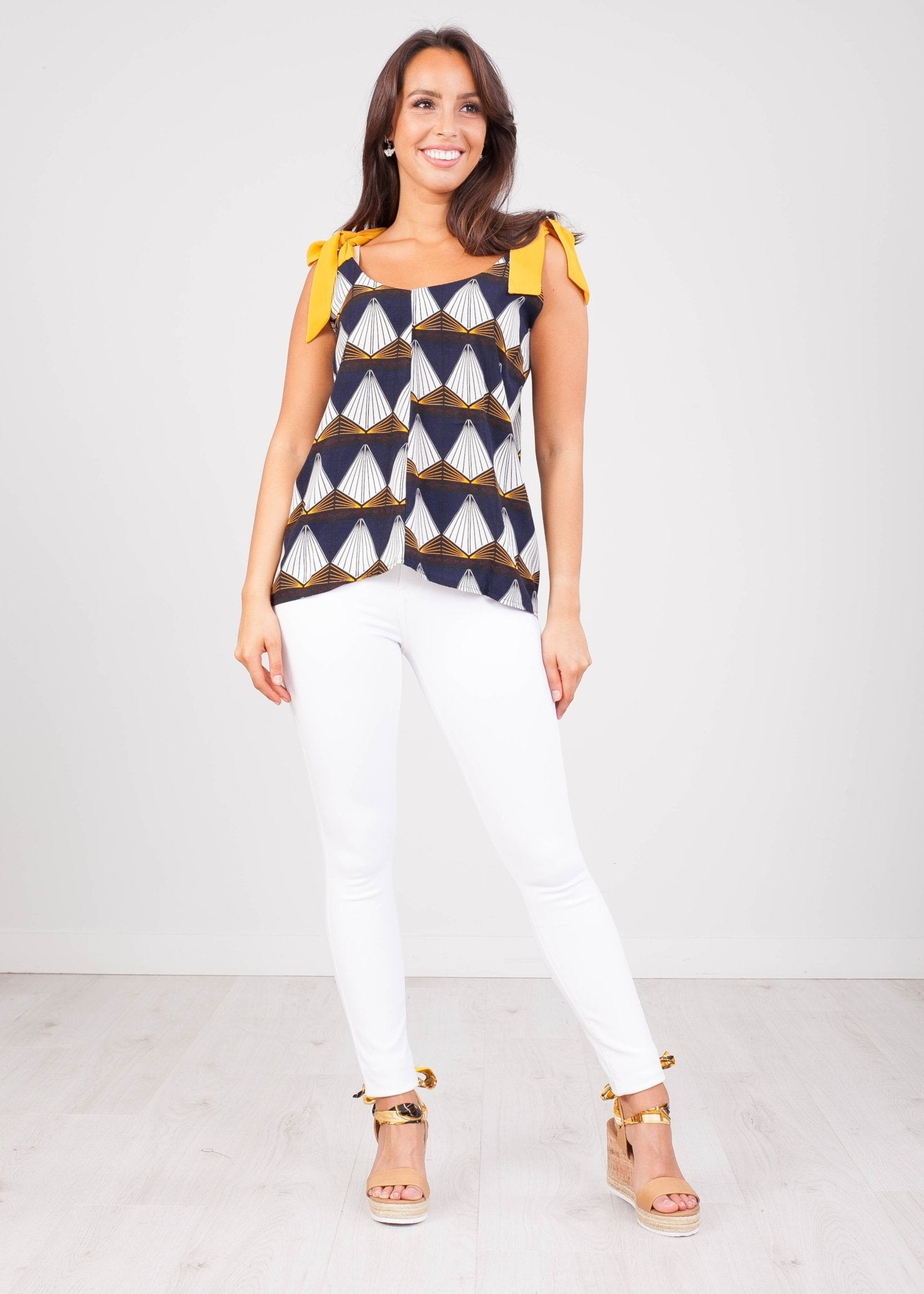 FiFi Navy & Mustard Top - The Walk in Wardrobe