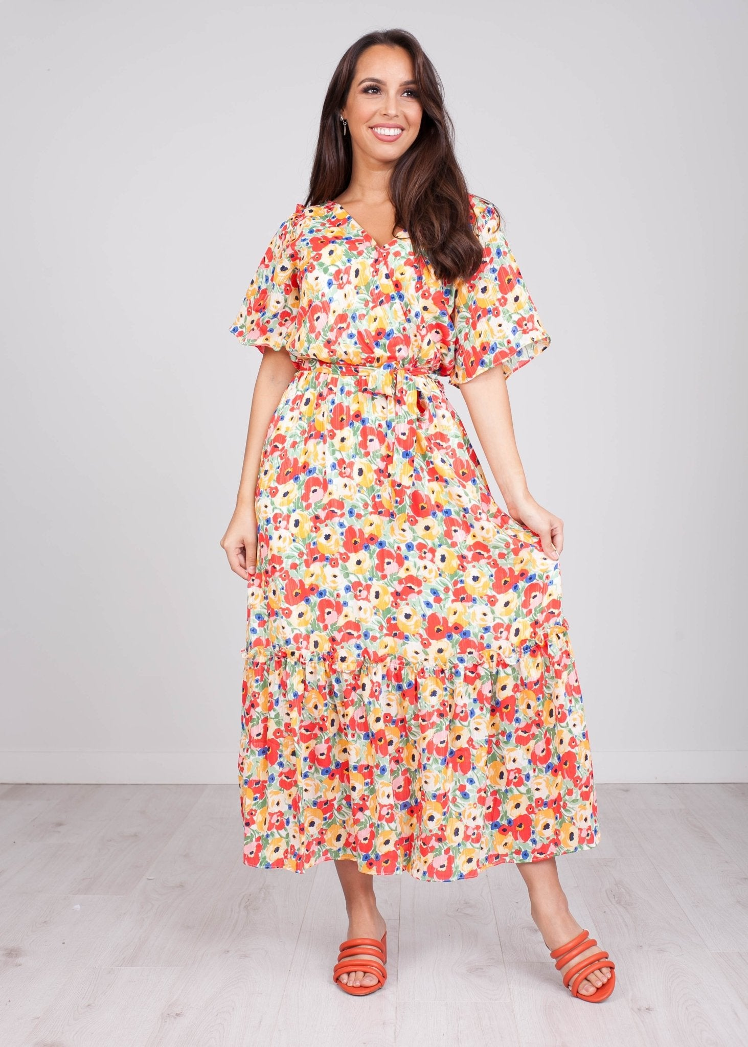 FiFi Red Floral Midi Dress - The Walk in Wardrobe