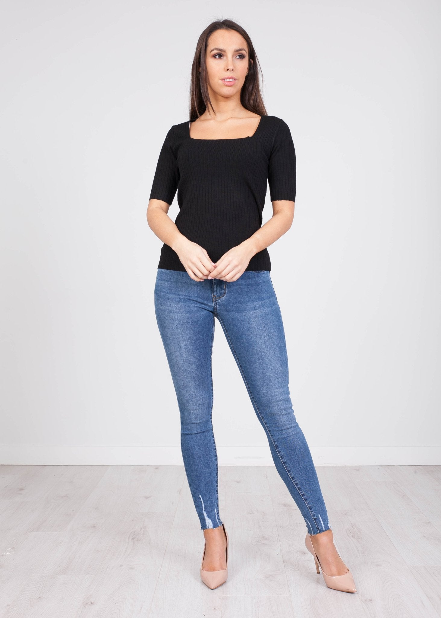 Frankie Black Ribbed Top - The Walk in Wardrobe