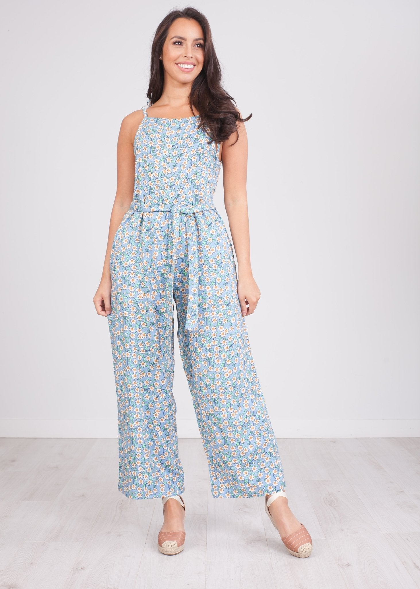 Frankie Blue Floral Jumpsuit - The Walk in Wardrobe