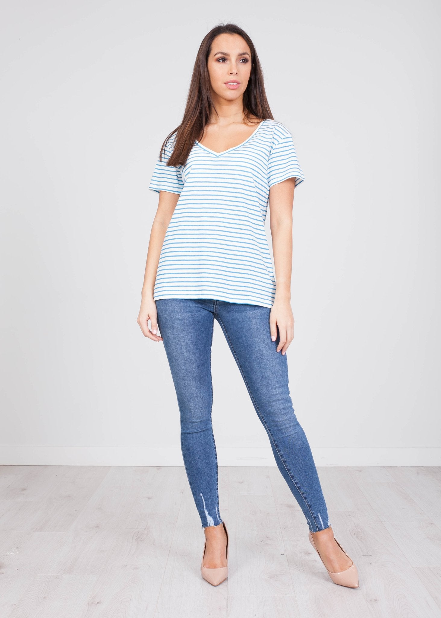 Frankie Blue Stripe T-Shirt - The Walk in Wardrobe