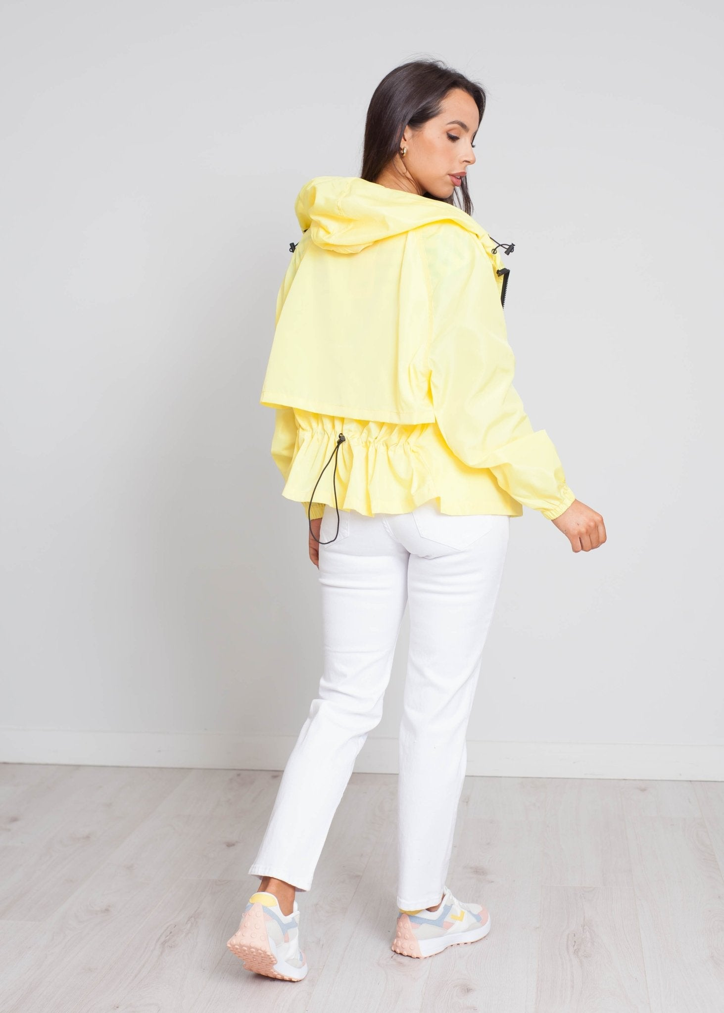 Frankie Drawstring Raincoat In Yellow - The Walk in Wardrobe