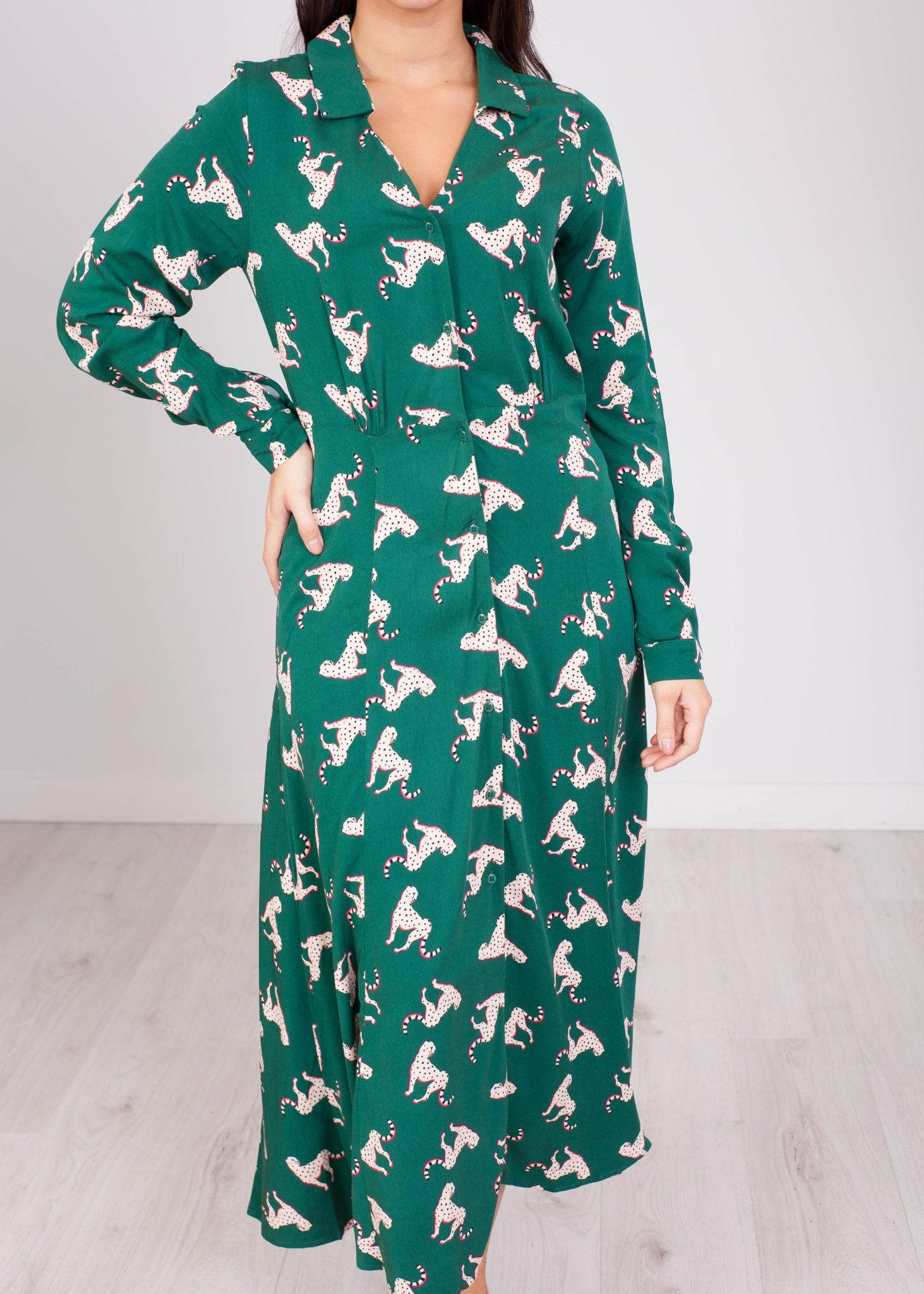Frankie Green Leopard Dress - The Walk in Wardrobe