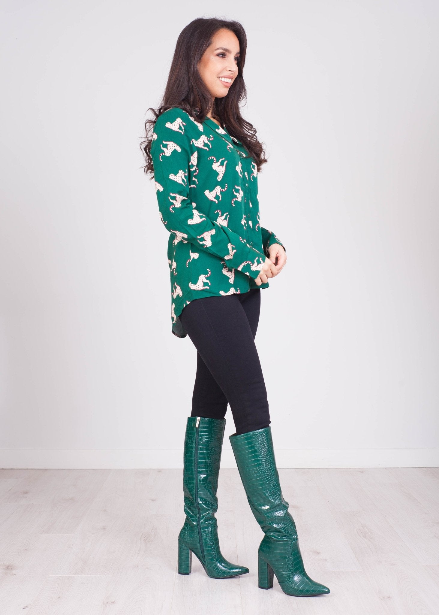 Frankie Green Leopard Shirt - The Walk in Wardrobe